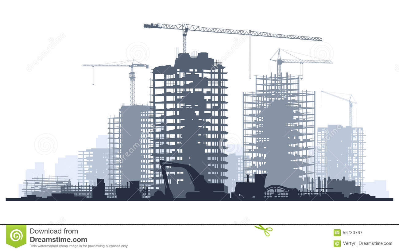 Line illustration of construction site with crane and for How to read construction site plans