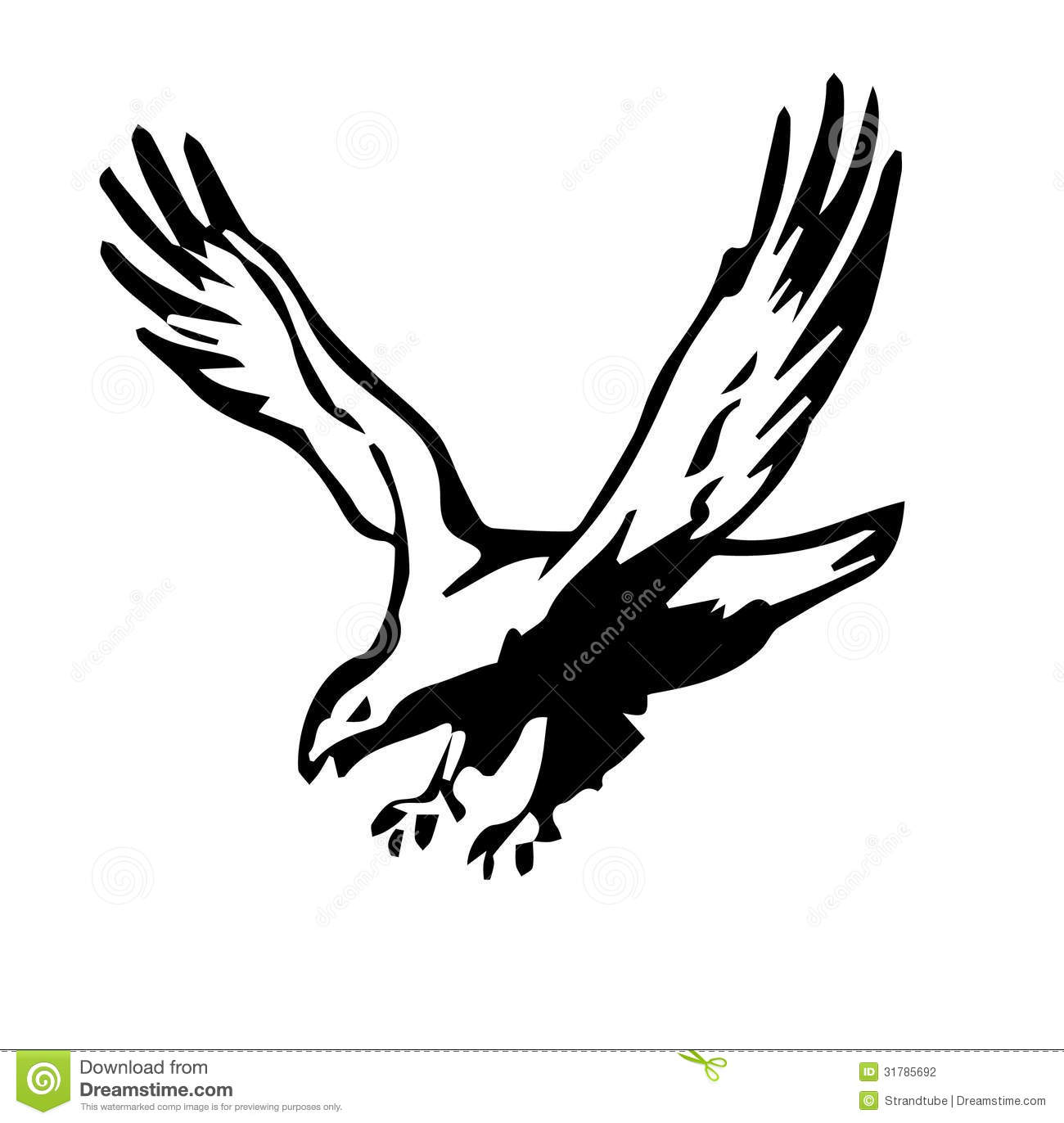Line Drawing Eagle : Line silhouette illustration of an eagle stock vector