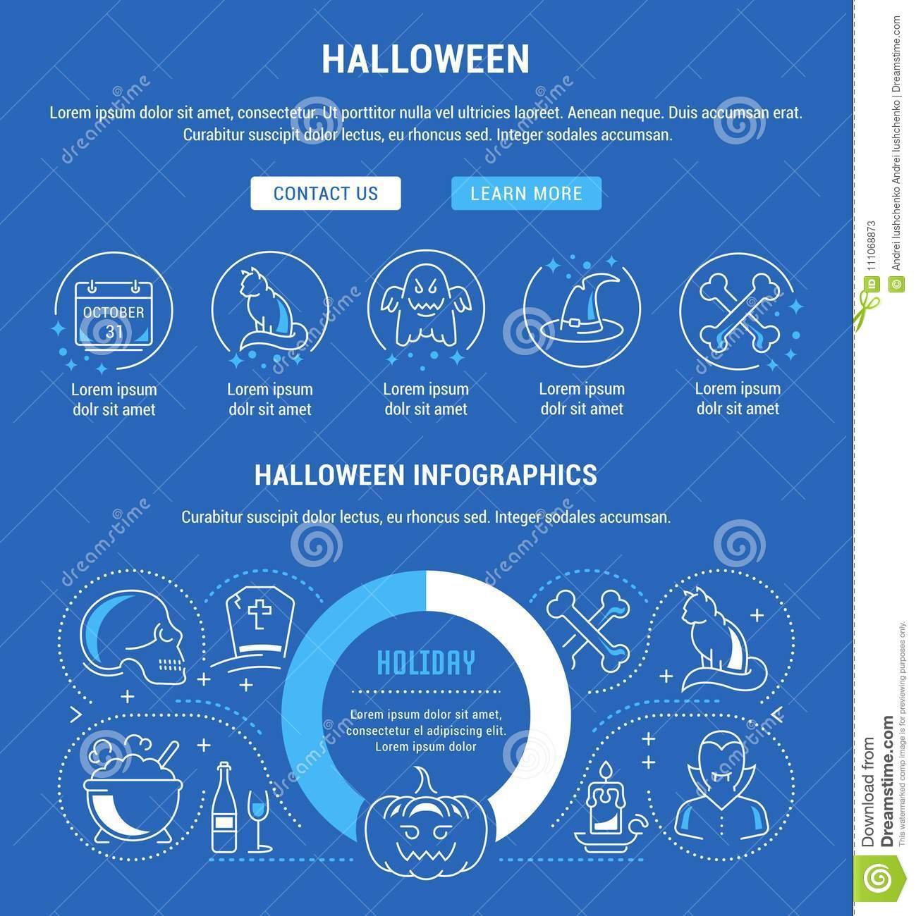 website banner and landing page of halloween stock illustration