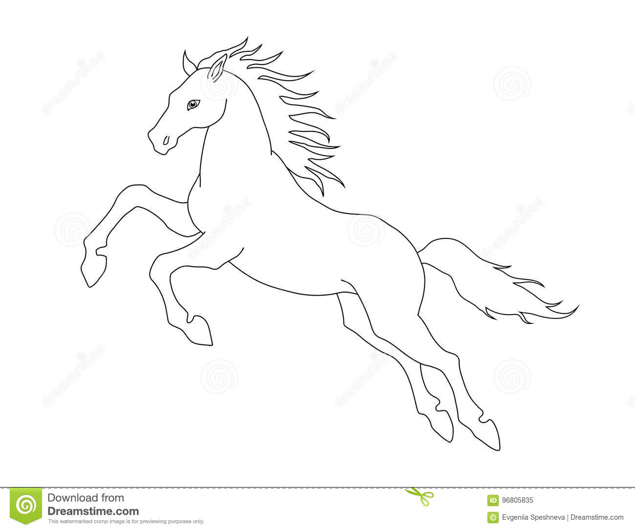 Royalty Free Vector Download Line Illustration Of Jumping Horse For Coloring Books