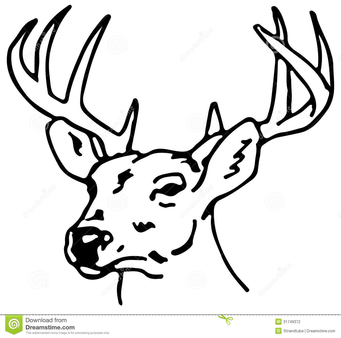 Reindeer Face Line Drawing : Drawing of a reindeer eps stock vector image shape