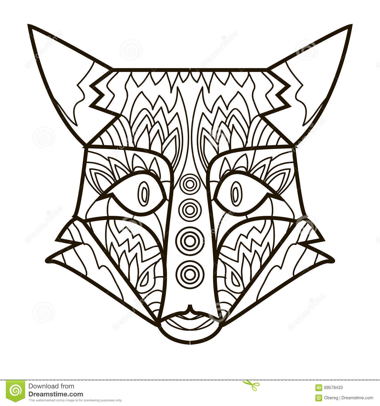 Line Image For Art Therapy With Fox Stock Vector 1300x1390