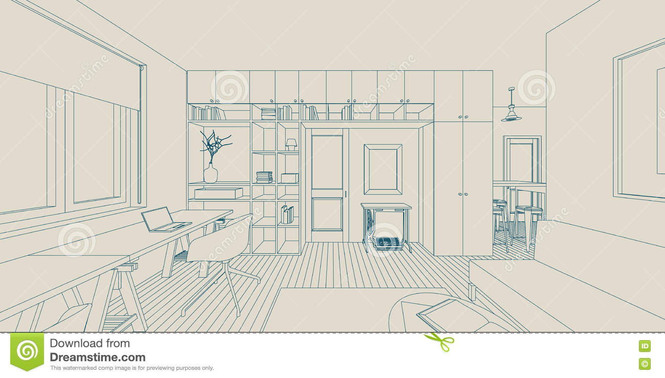 Line Drawing Room : Line interior drawing stock vector image