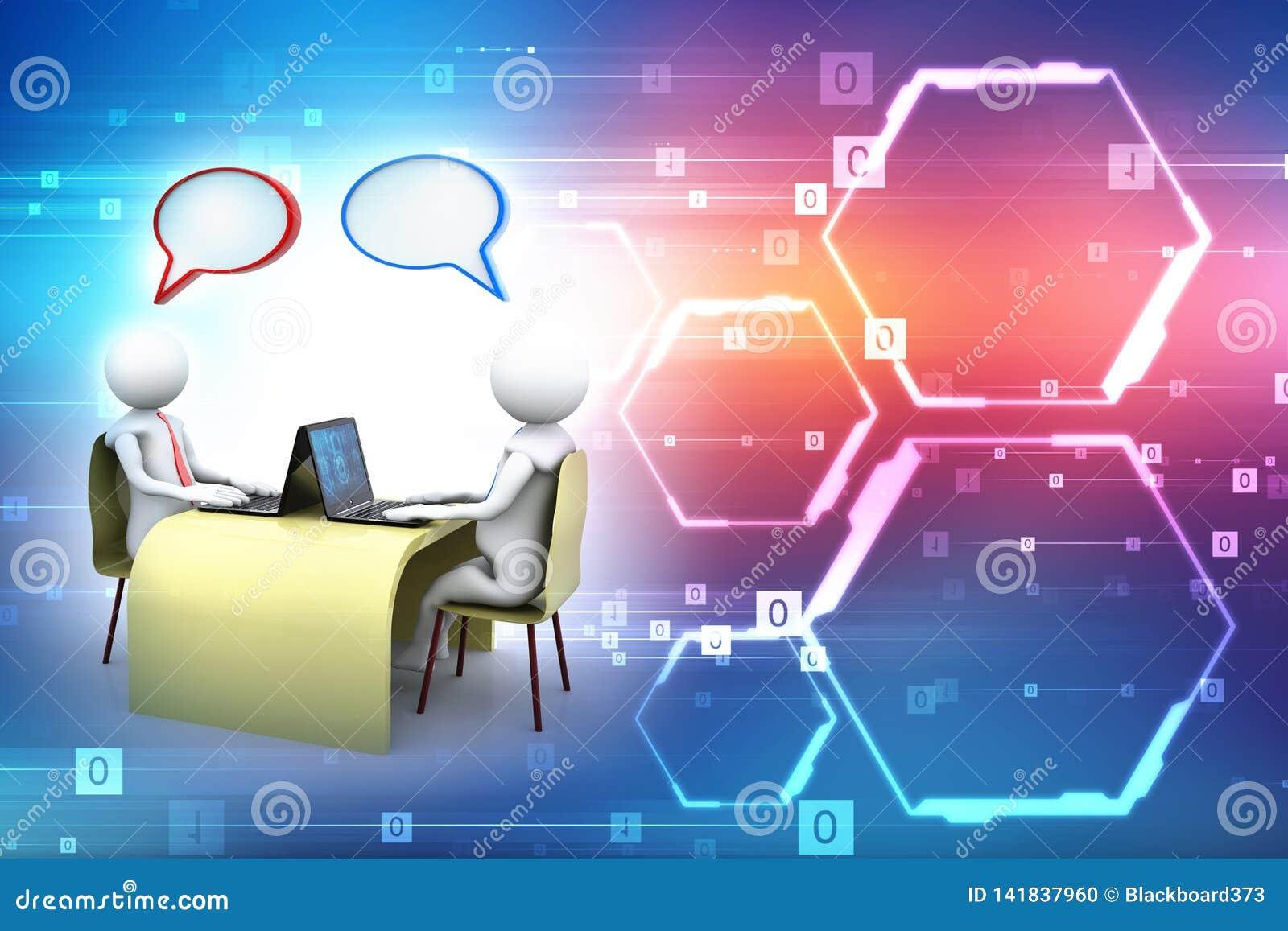 On-line-Kommunikation Plaudern, Geschäftskommunikations-Konzept Wiedergabe 3d