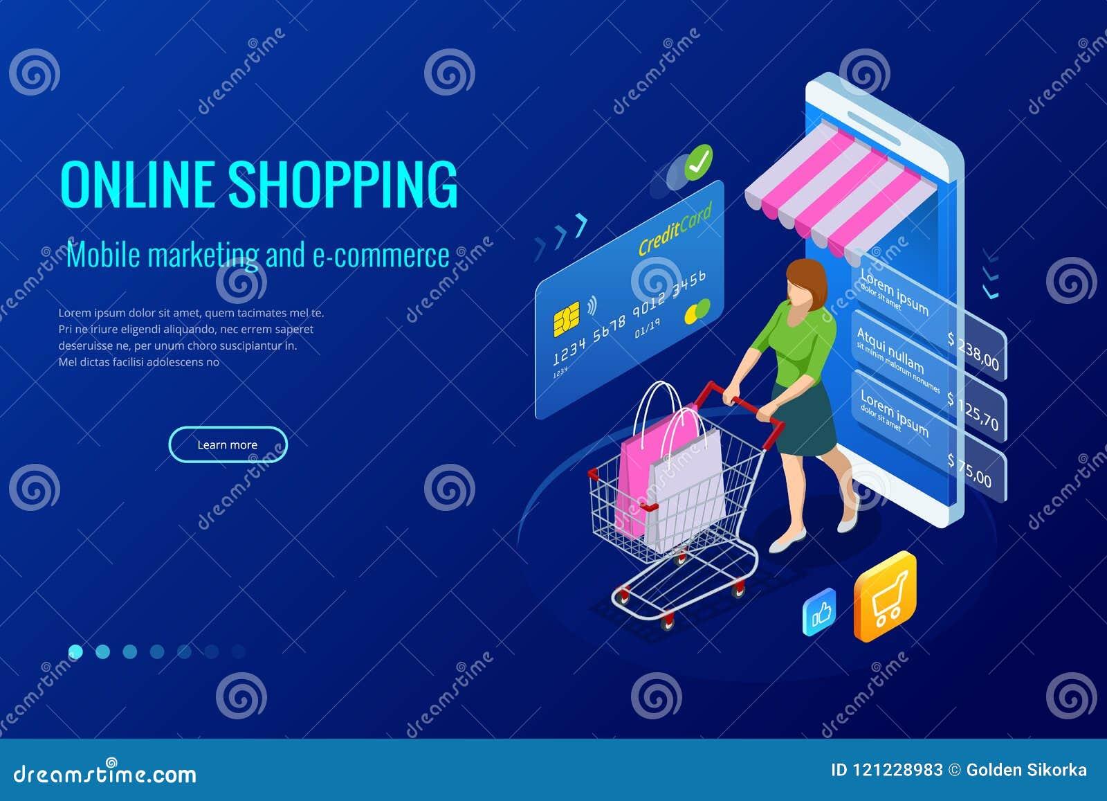 2e906d9fb90d58 On-line-Konzept des isometrischen intelligenten Smartphone Einkaufs  Smartphone machte zu Internet-Shop