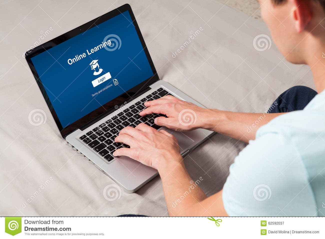 On Line Learning Website In A Computer Man Typing On The Keyboard At Home Stock Photo Image