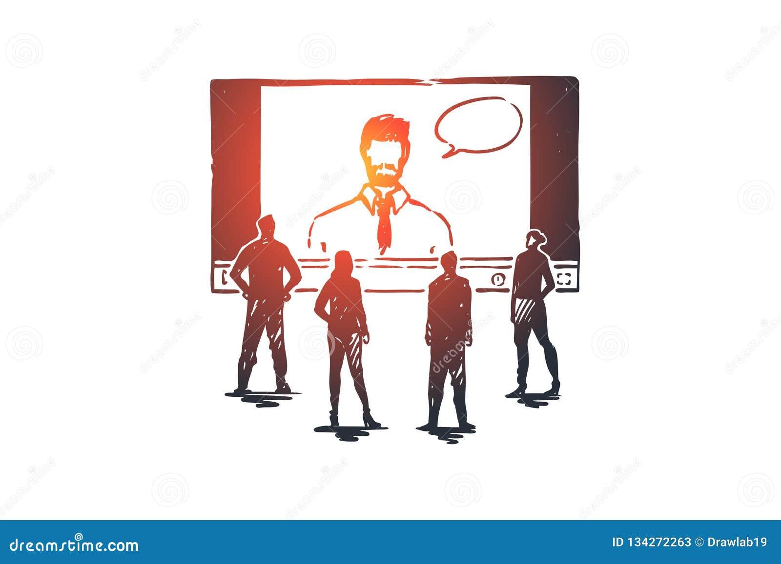 On-line, lernend, System, Netz, Trainingskonzept Hand gezeichneter lokalisierter Vektor