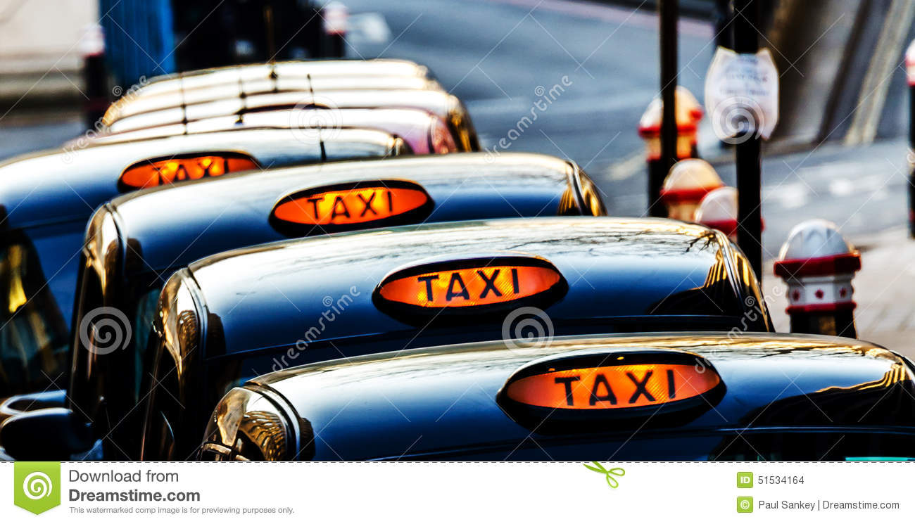 Line of London Taxi Cabs