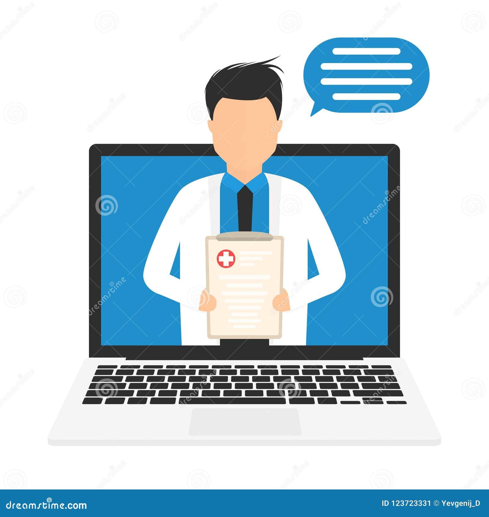 On-line-Medizinkonzept Medizinische on-line-Behandlung Digital On-line-Doktor oder Apotheker, medizinische Beratung