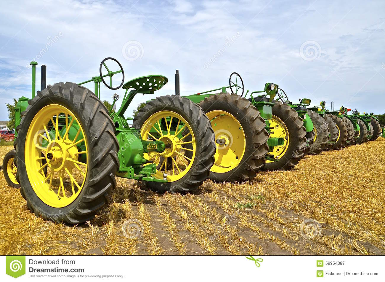 John Deere Line : A line of old john deere tractors editorial photography