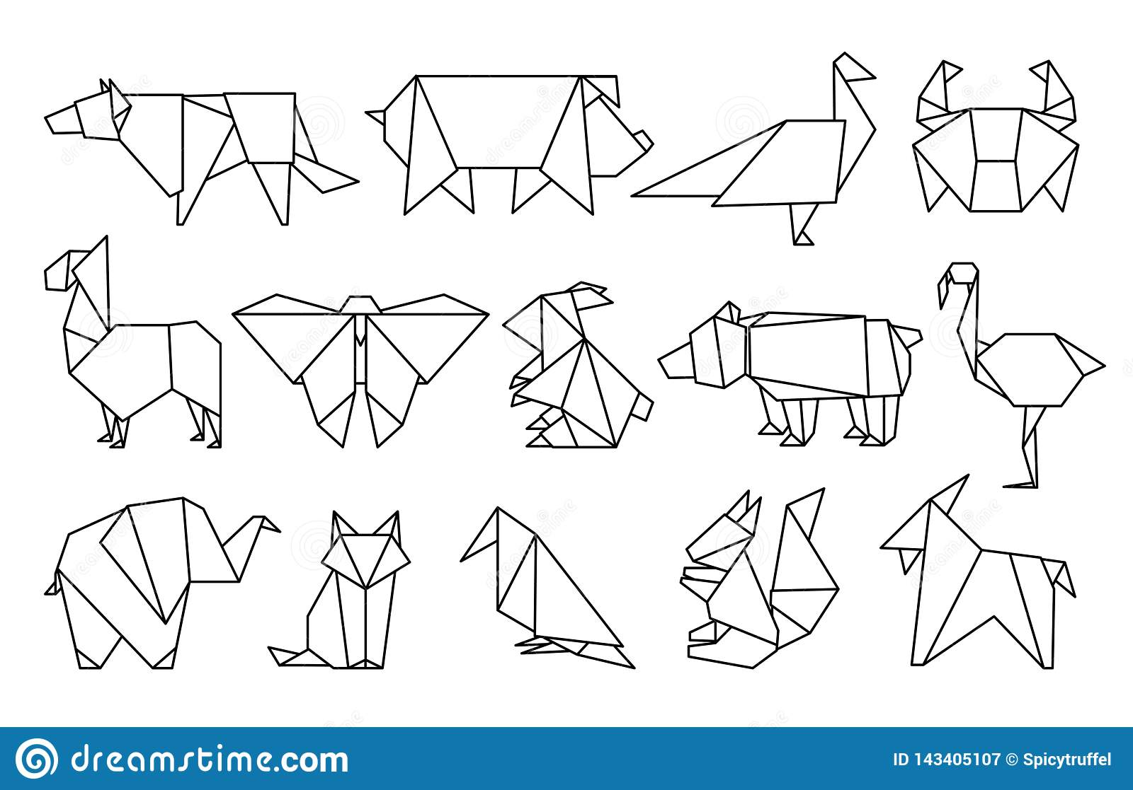 photo about Paper Cutout Templates identify Line Origami Pets. Summary Polygon Pets, Folded Paper