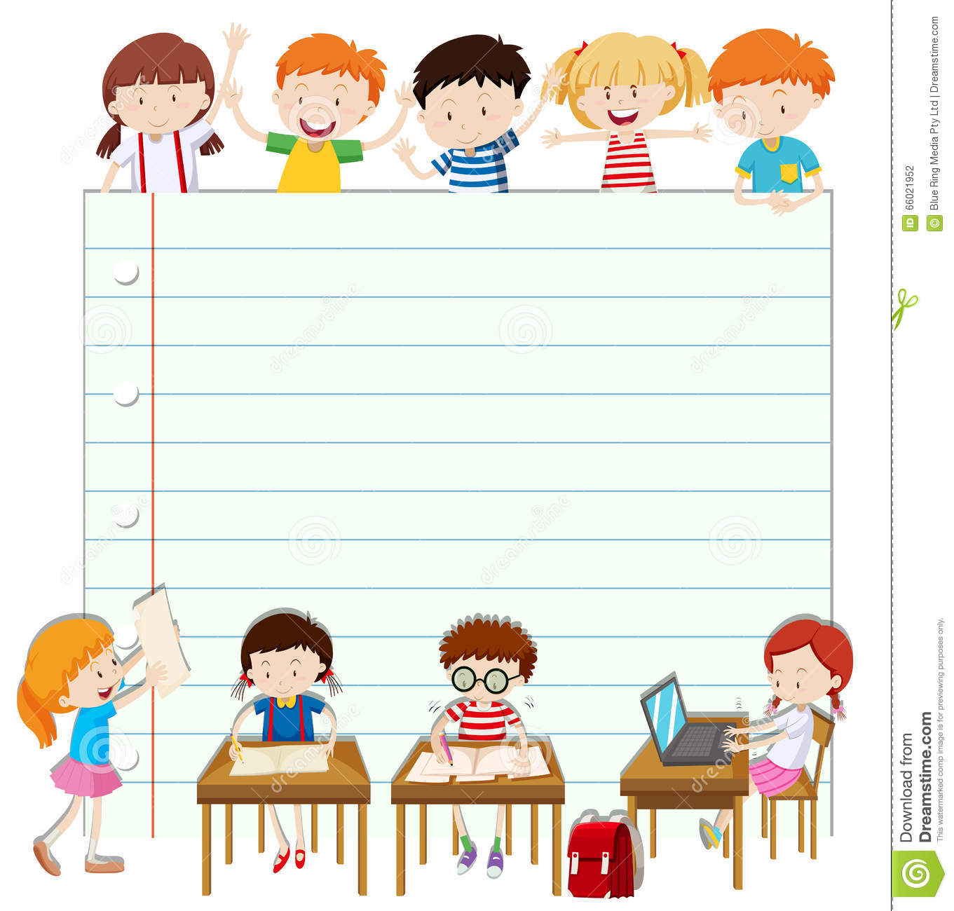Classroom Design Paper : Line paper design with children in classroom stock vector