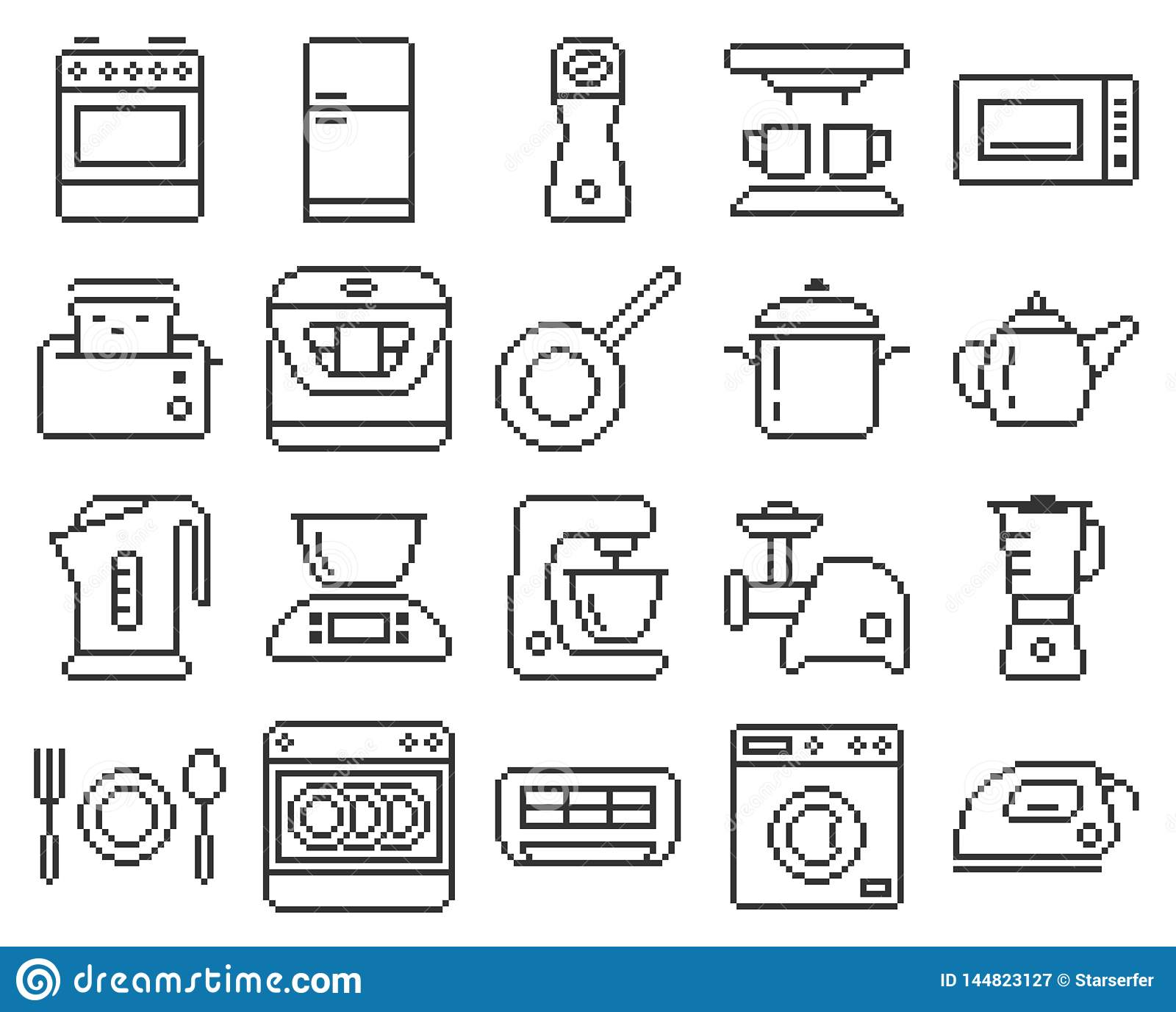 Line Pixel Kitchen Icons Stock Vector Illustration Of Icon