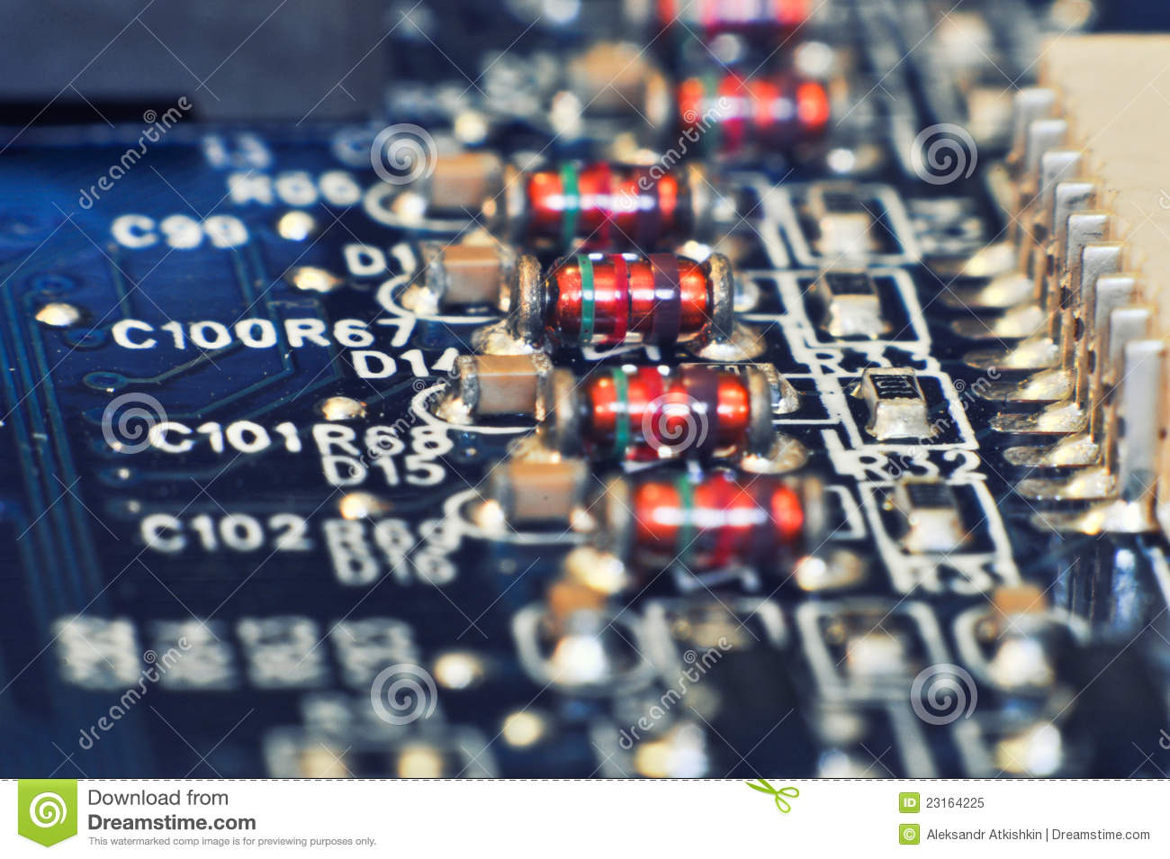 Line Of Resistors Stock Image Capacitor Hardware 23164225 Circuit Board Some On