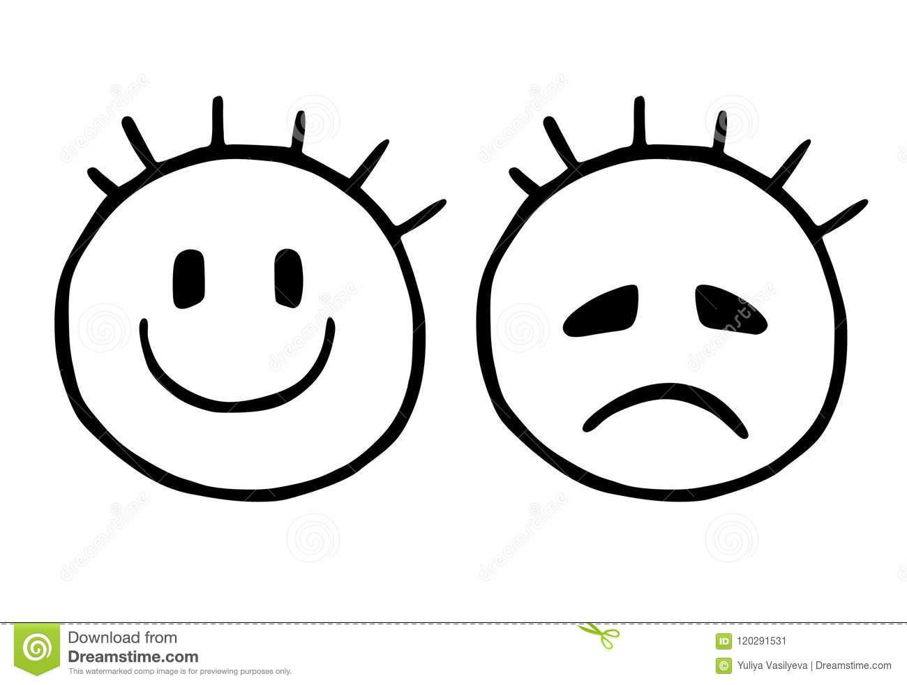 Line Sad And Cheerful Smiley, Emoticons Icons, Stylized ...
