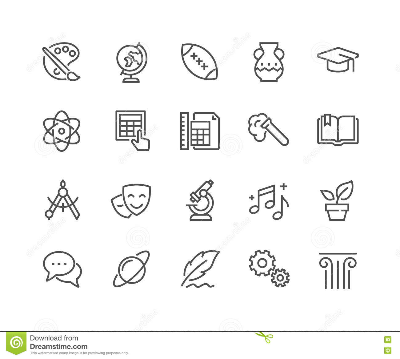 line school subjects icons stock vector illustration of geometry 80936370. Black Bedroom Furniture Sets. Home Design Ideas