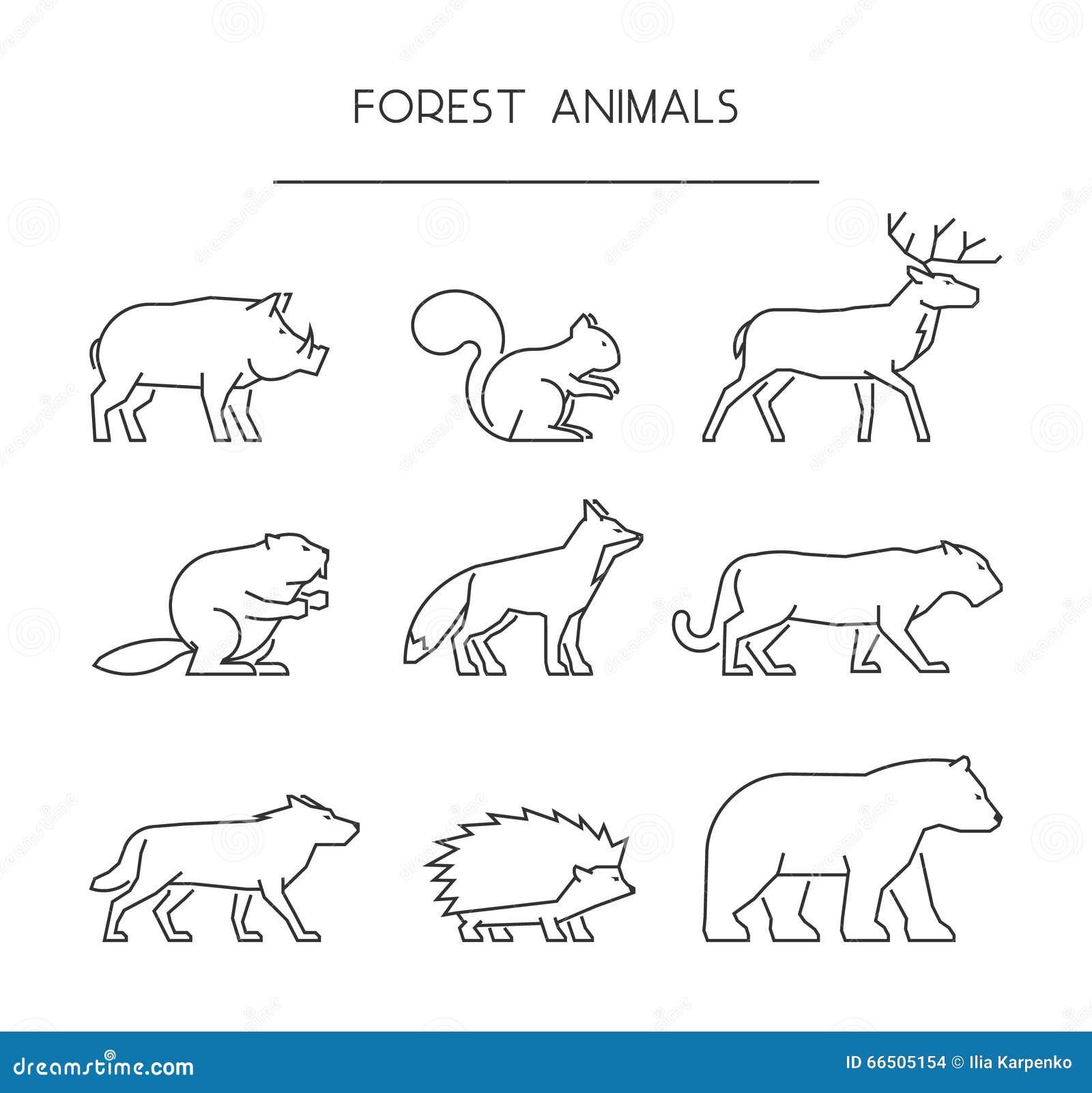 outline forest animals line forest animals stock illustration