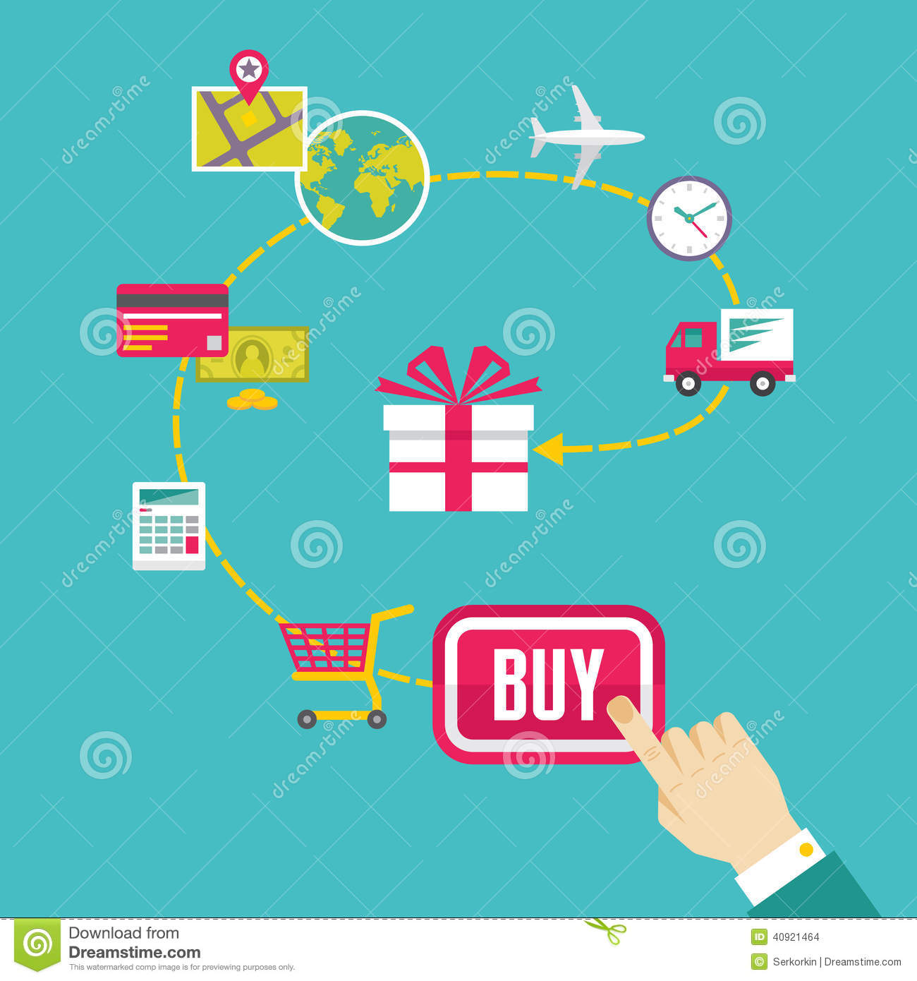E Commerce Site Map: On-Line Shop And E-Commerce Creative Illustration Stock Vector
