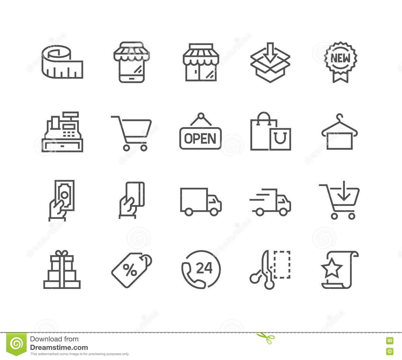 line shopping icons stock vector