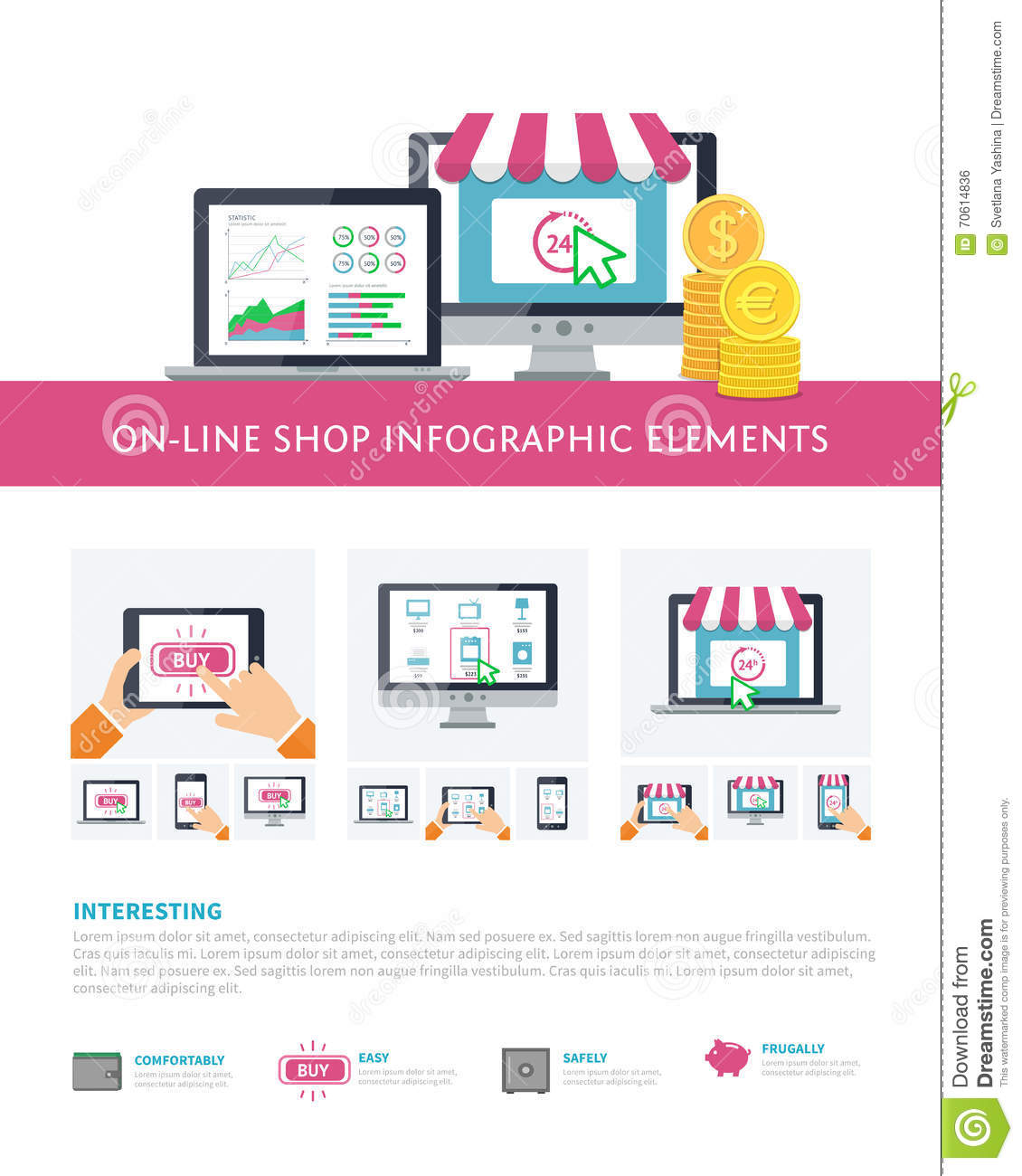 On line Shopping Inforaphic Elements Set Mobile Banking Online ...