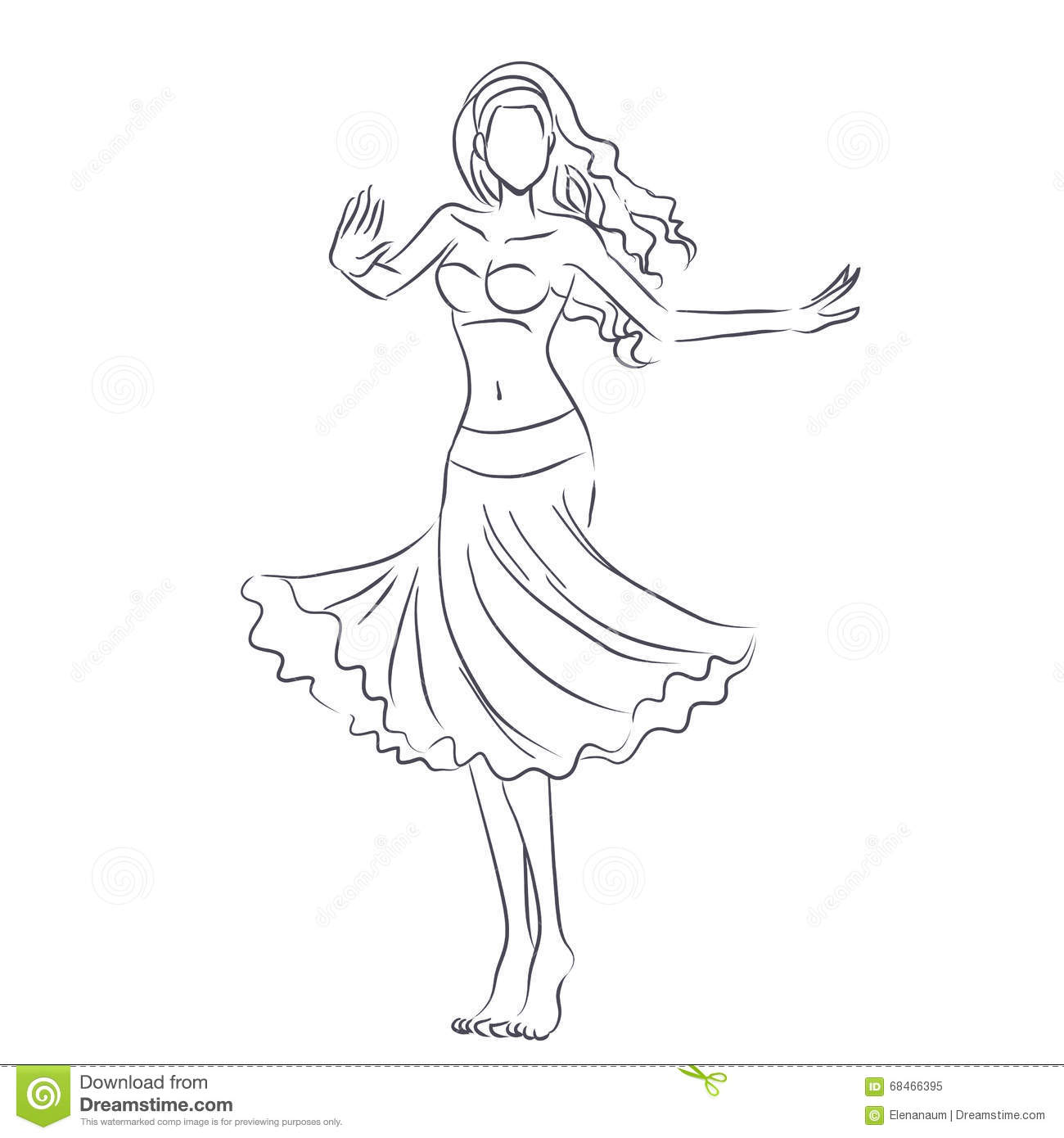 e19ba987b8ed Line Silhouette Of Young Woman Showing Belly Dance Stock Vector ...