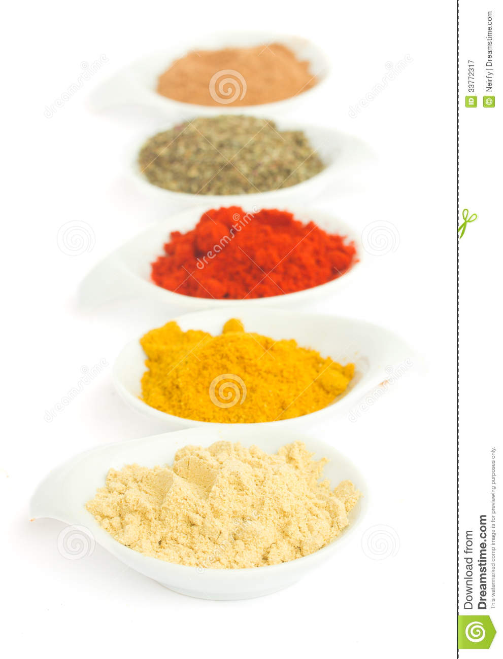 Line of spices on white