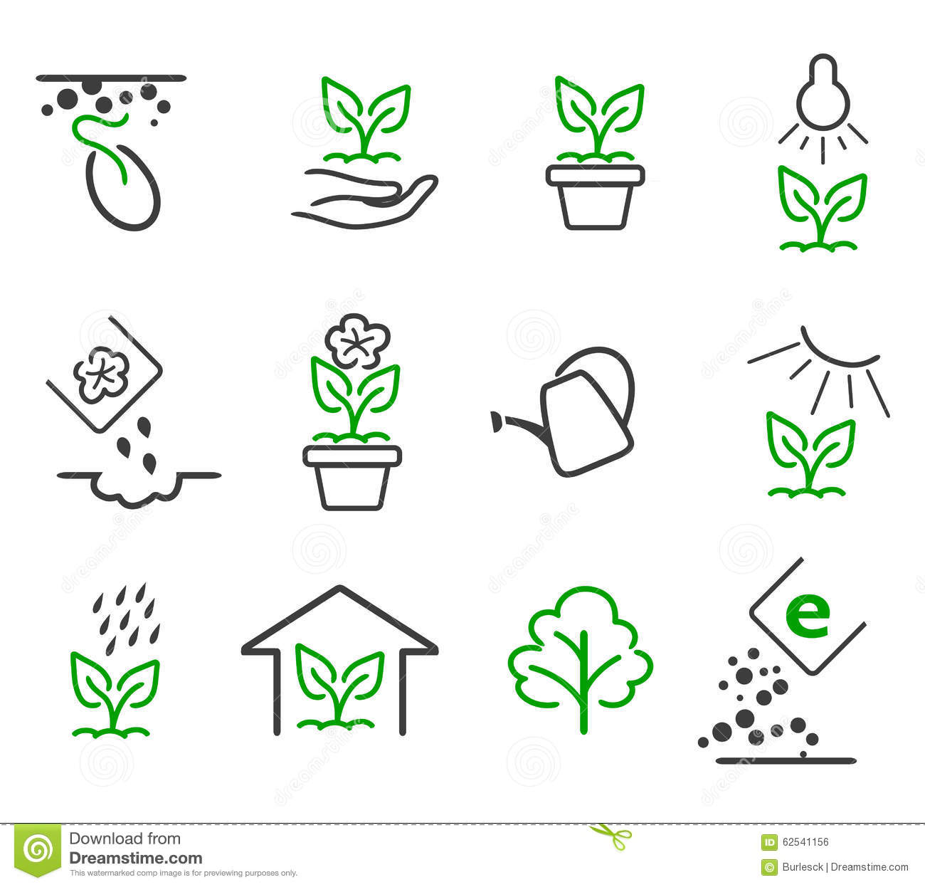 Line Sprout And Plant Growing Vector Icons Set Stock ...