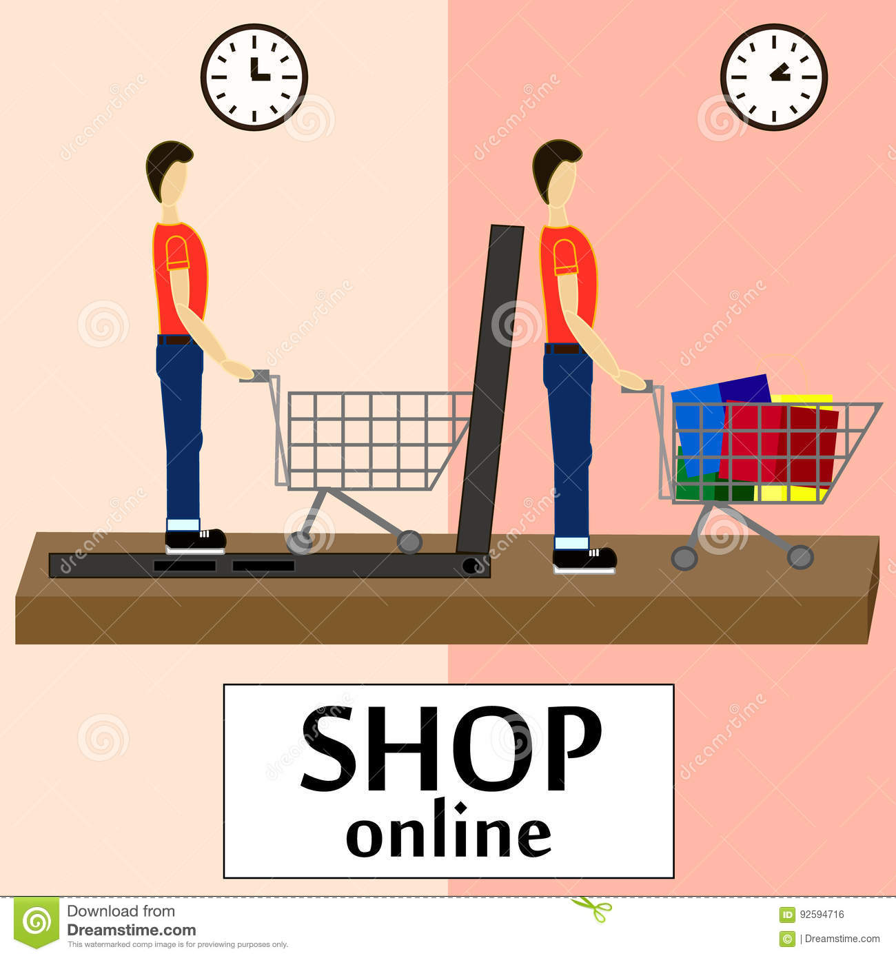 On line store sale laptop with awning men buying stuff Shop at home