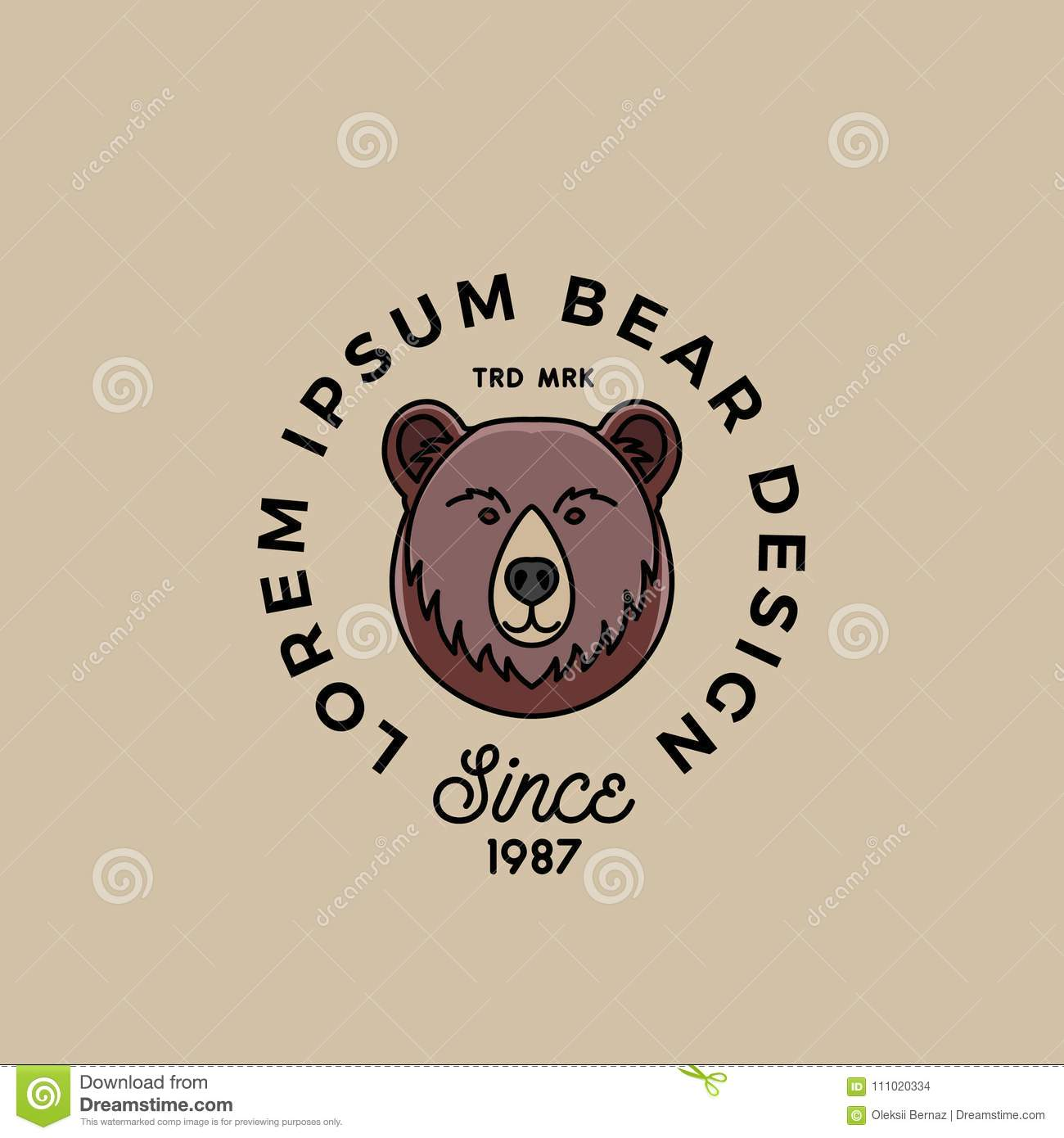 line style bear face with retro typography abstract vector sign