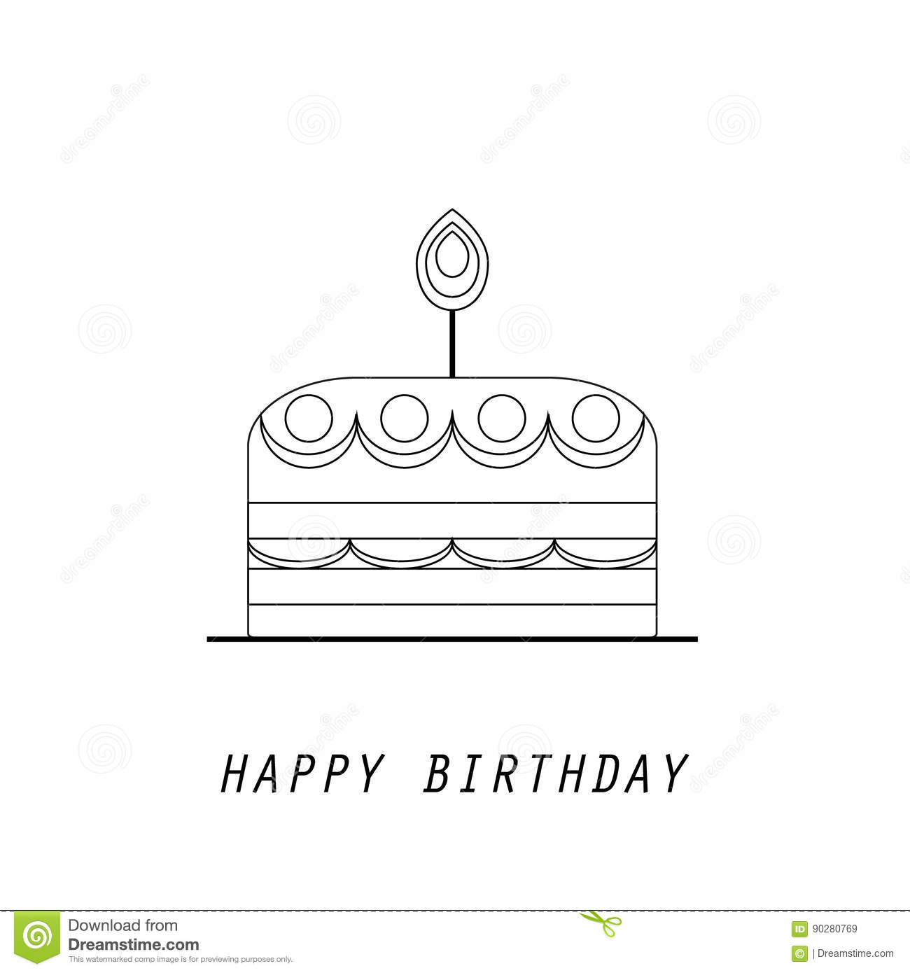 Line Style Logotype Template With Cake Candles