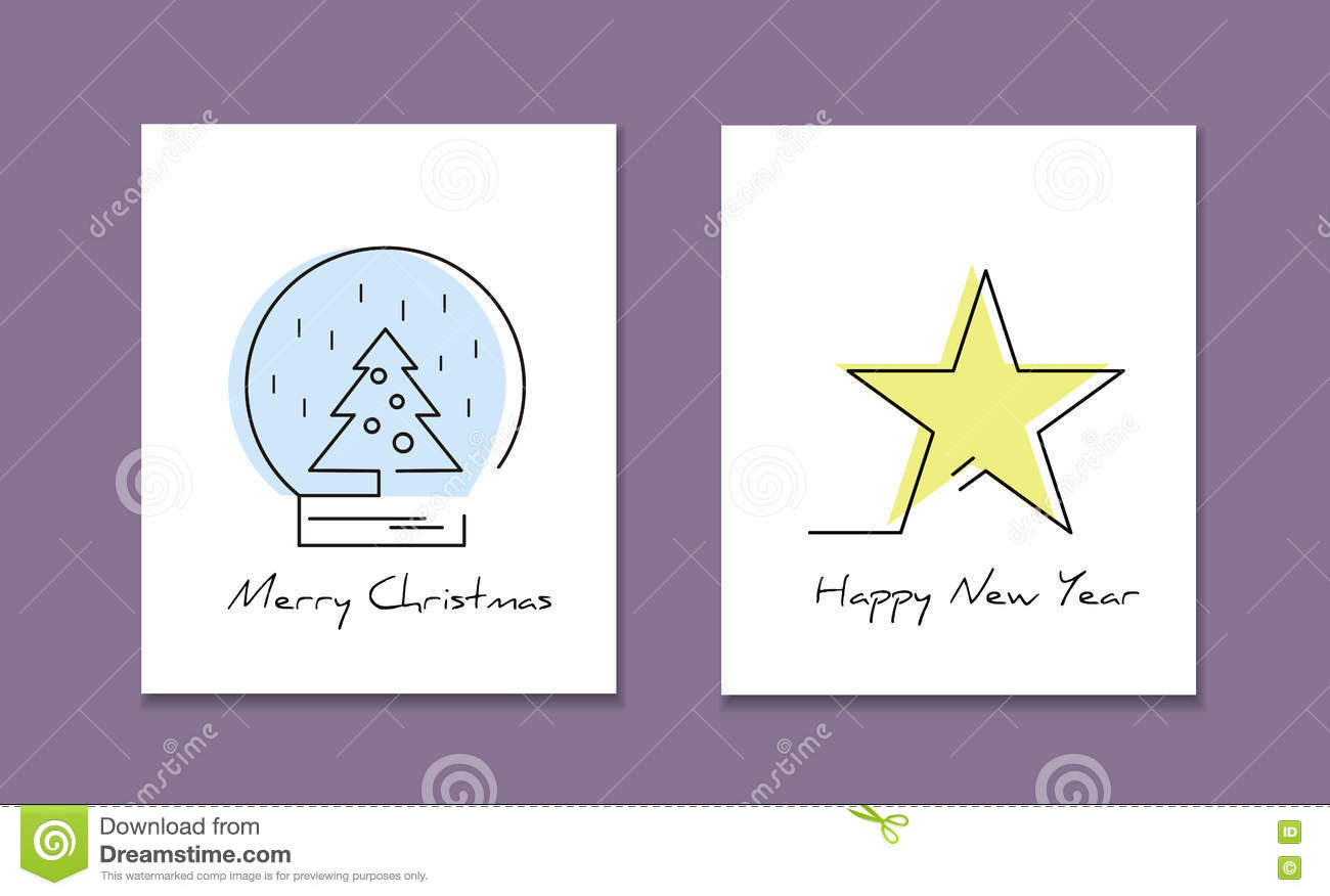 Line Style Logotype Template With Christmas Tree And Star Perfect Logo For Your Business Or Invitation Card Vector Illustration