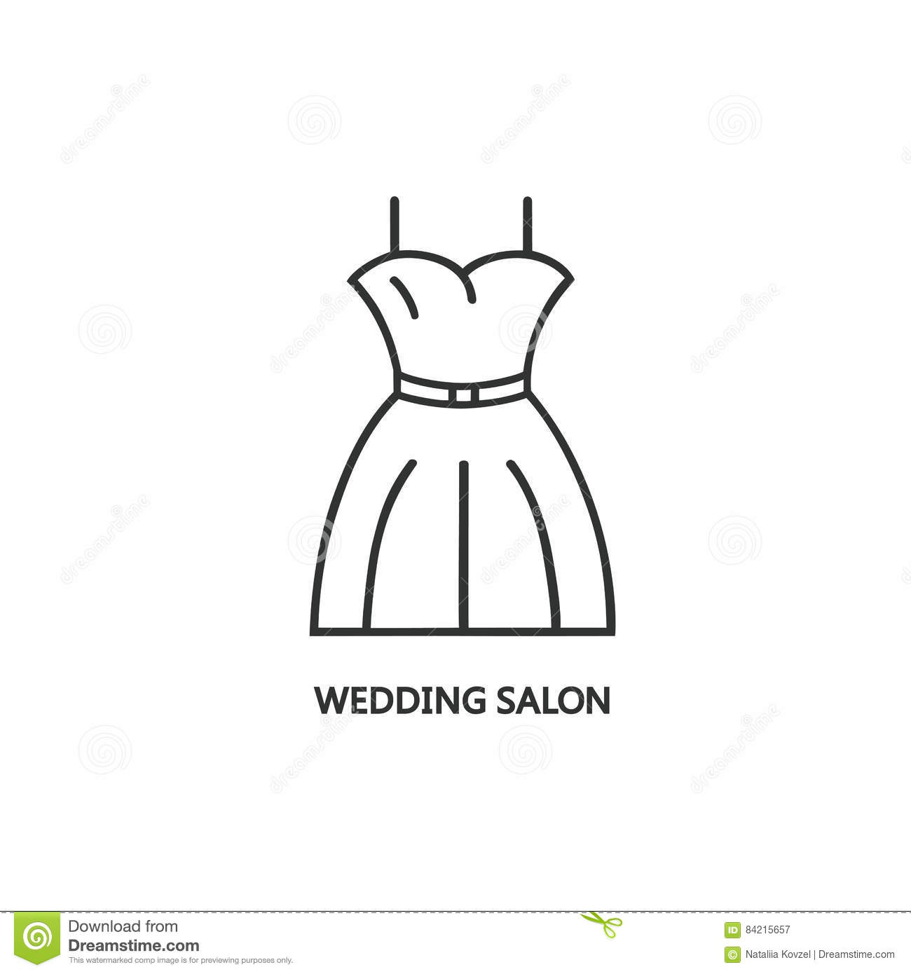 Line Style Logotype Template With Wedding Dress Stock Vector