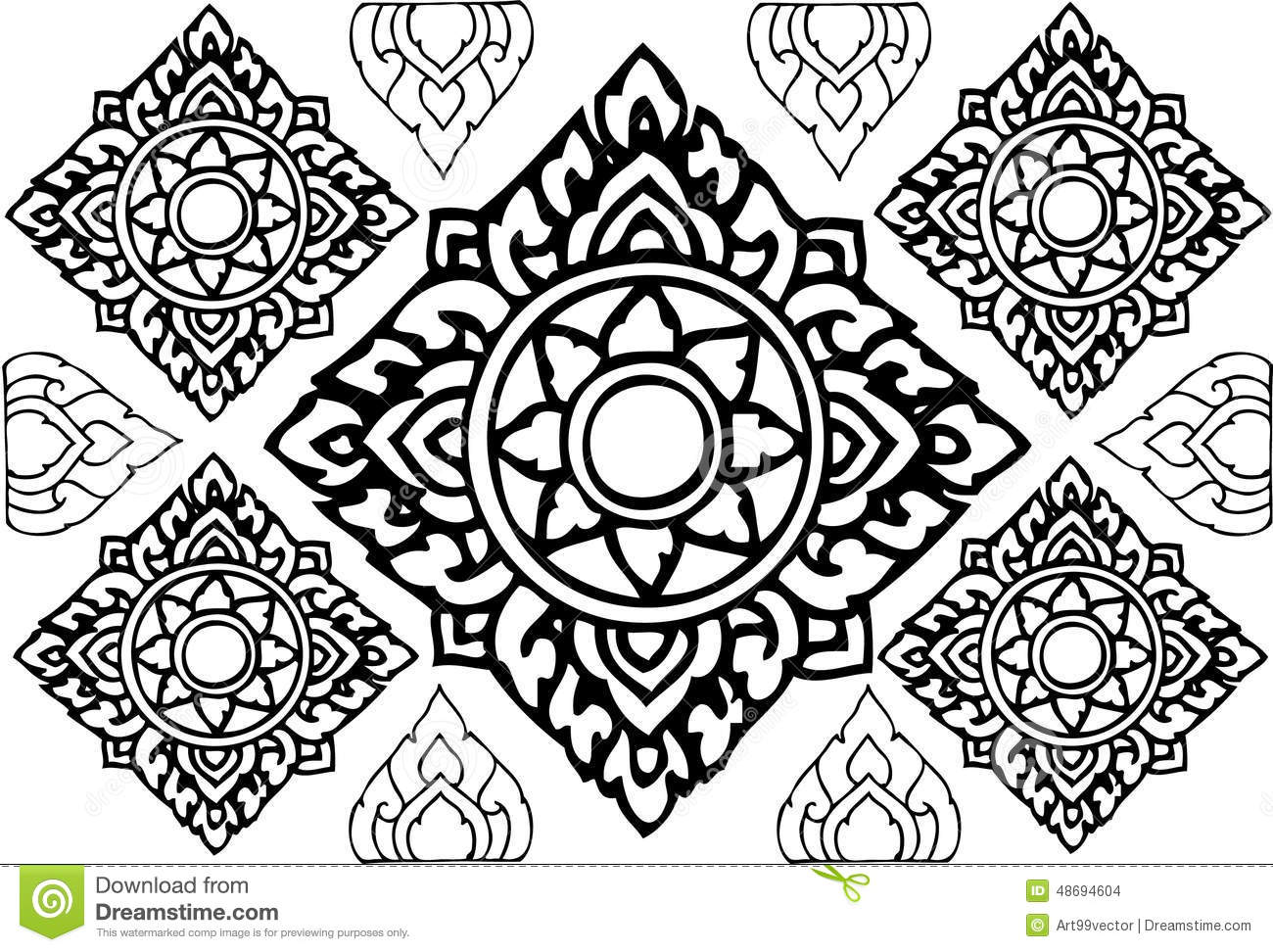 Line Art Media Design : Line thai design stock illustration of