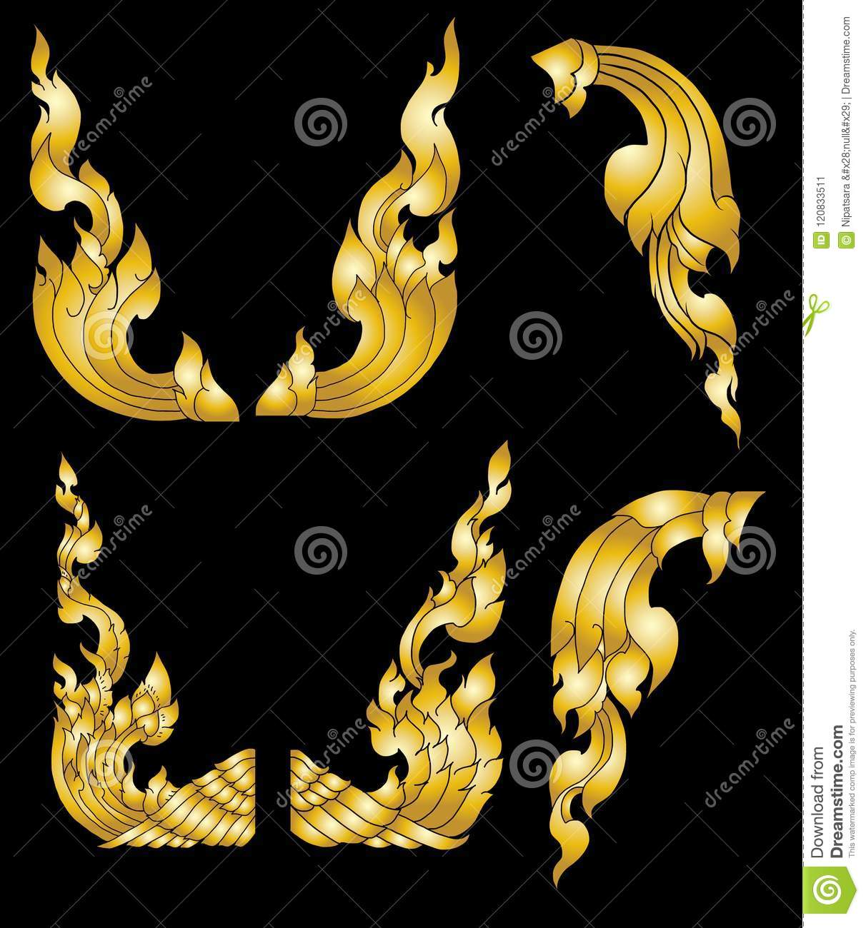 7761a50045865 Illustration: Line Thai Fire Design For Tattoo.japanese Fire For Tattoo  Background.