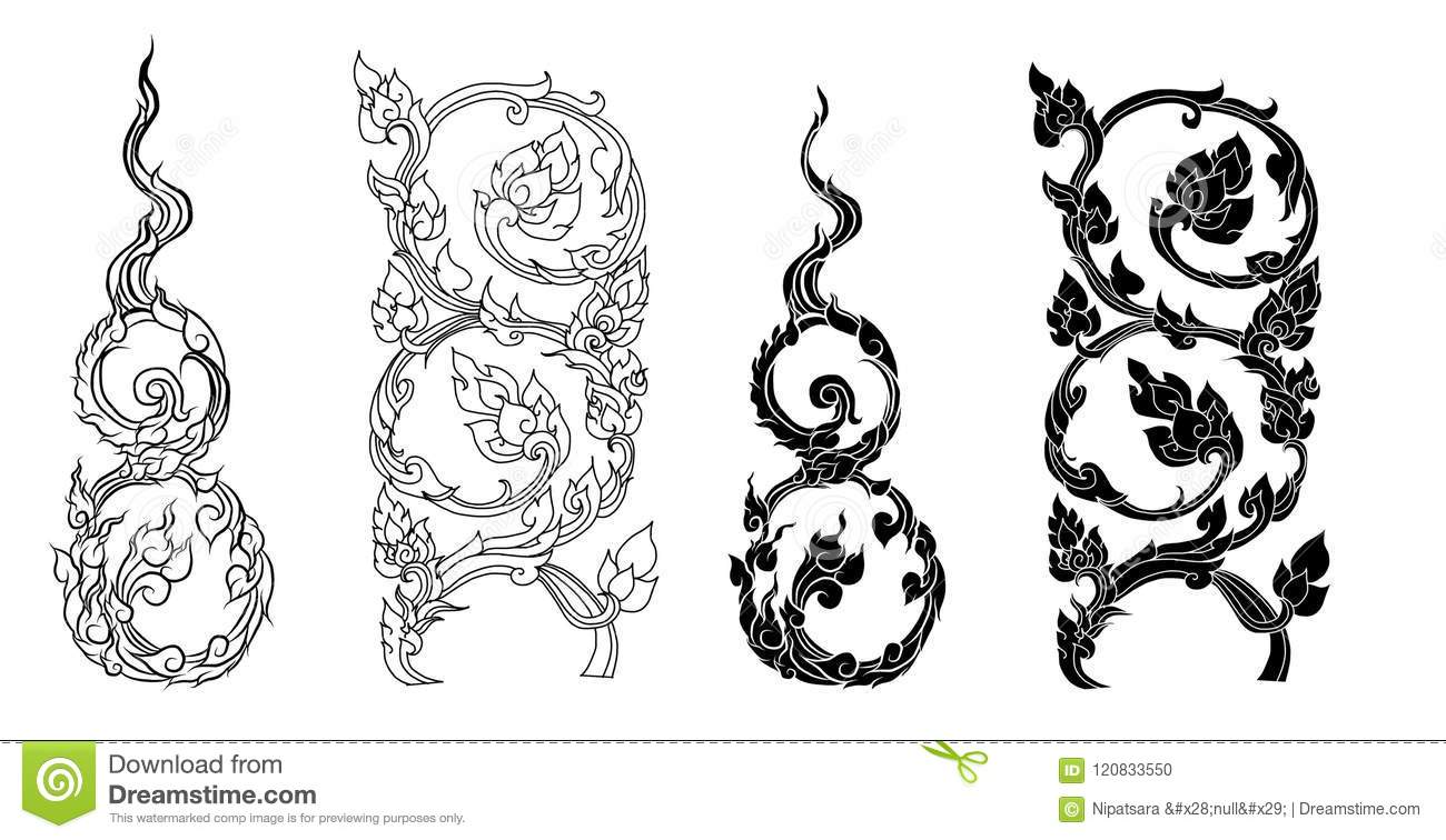 7a6c3778b9afc Line Thai Fire Design For Tattoo.Japanese Fire For Tattoo Background ...