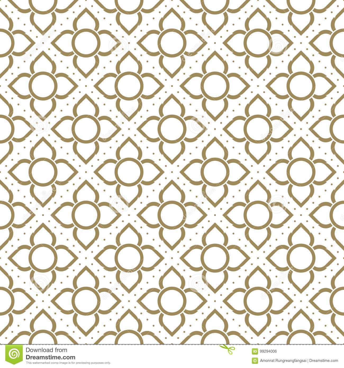 Line thai traditional seamless pattern