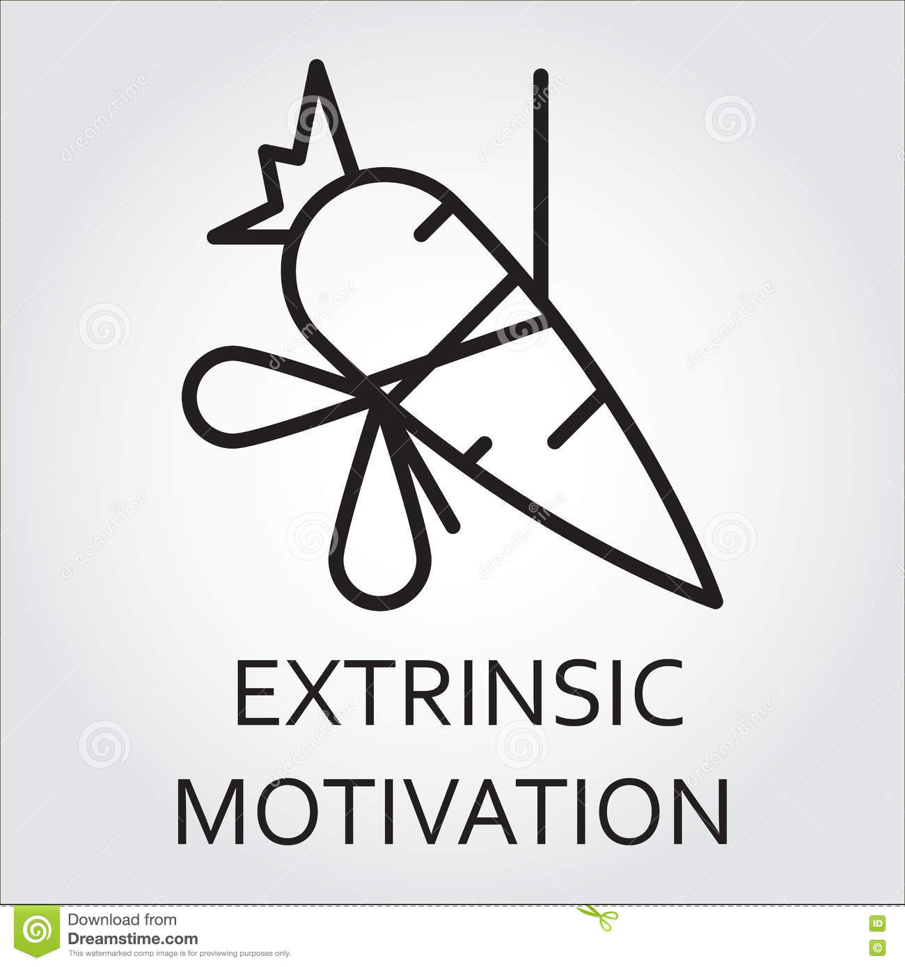 Line Vector Icon Extrinsic Motivation As Carrot On A Rope