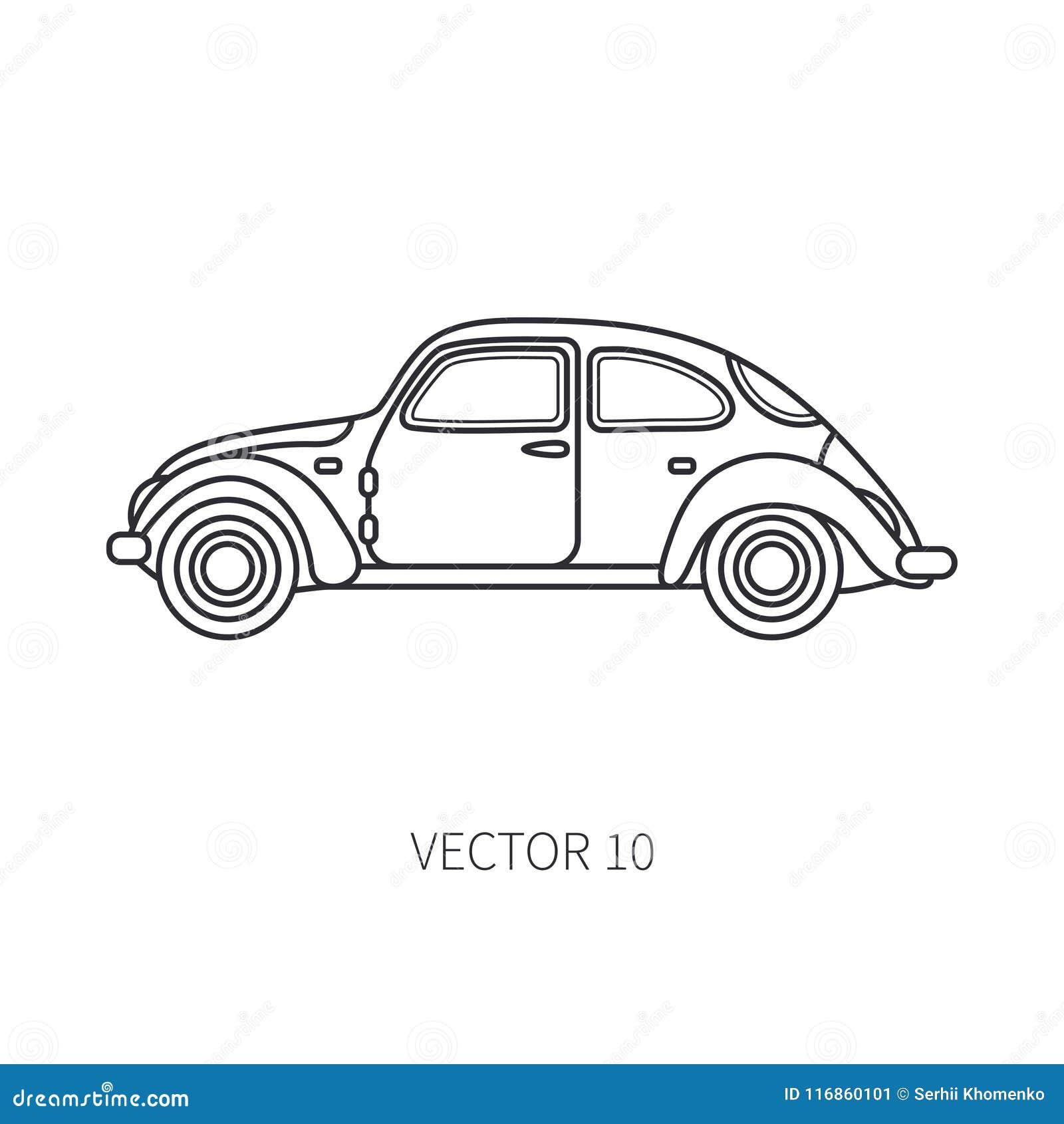 Line vector icon retro tourism auto. Classic 1950s style. Nostalgia subcompact antique automobile. Summer travel