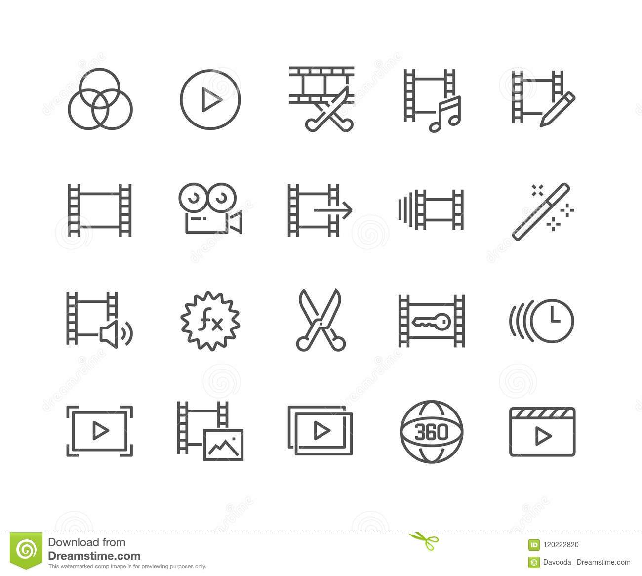 Line Video Editing Icons stock vector. Illustration of player ...
