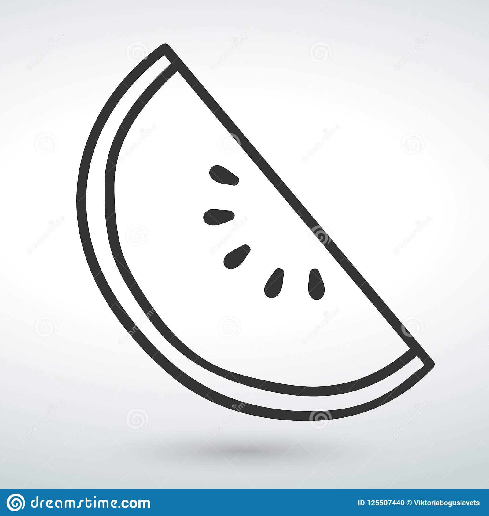 line watermelon Icon isolated vector on a white backround