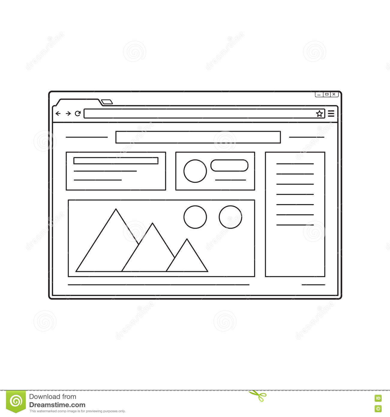 Web browser flat template vector illustration for Window design template