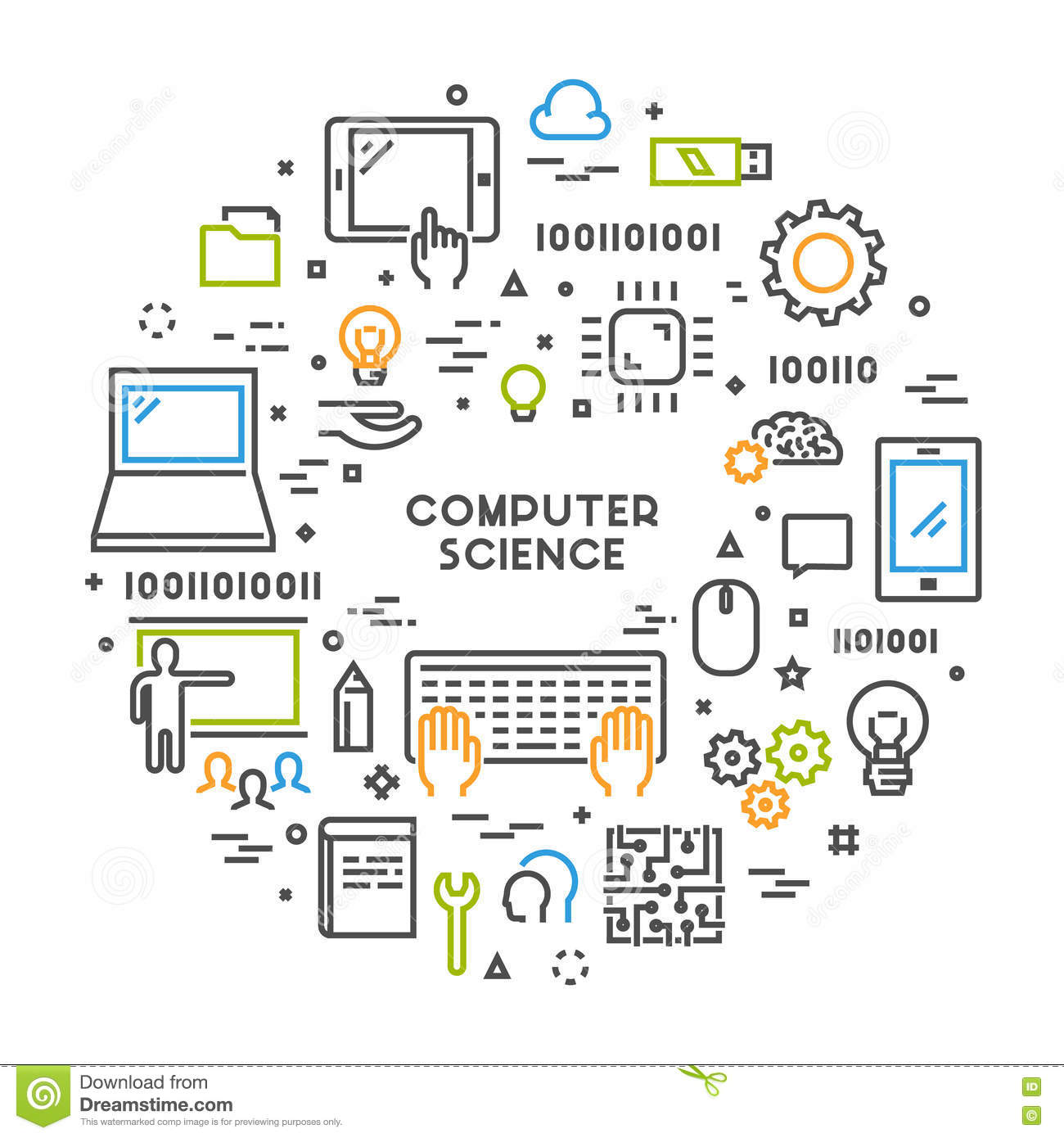Science Design For Notebook: Line Web Concept For Computer Science Stock Illustration