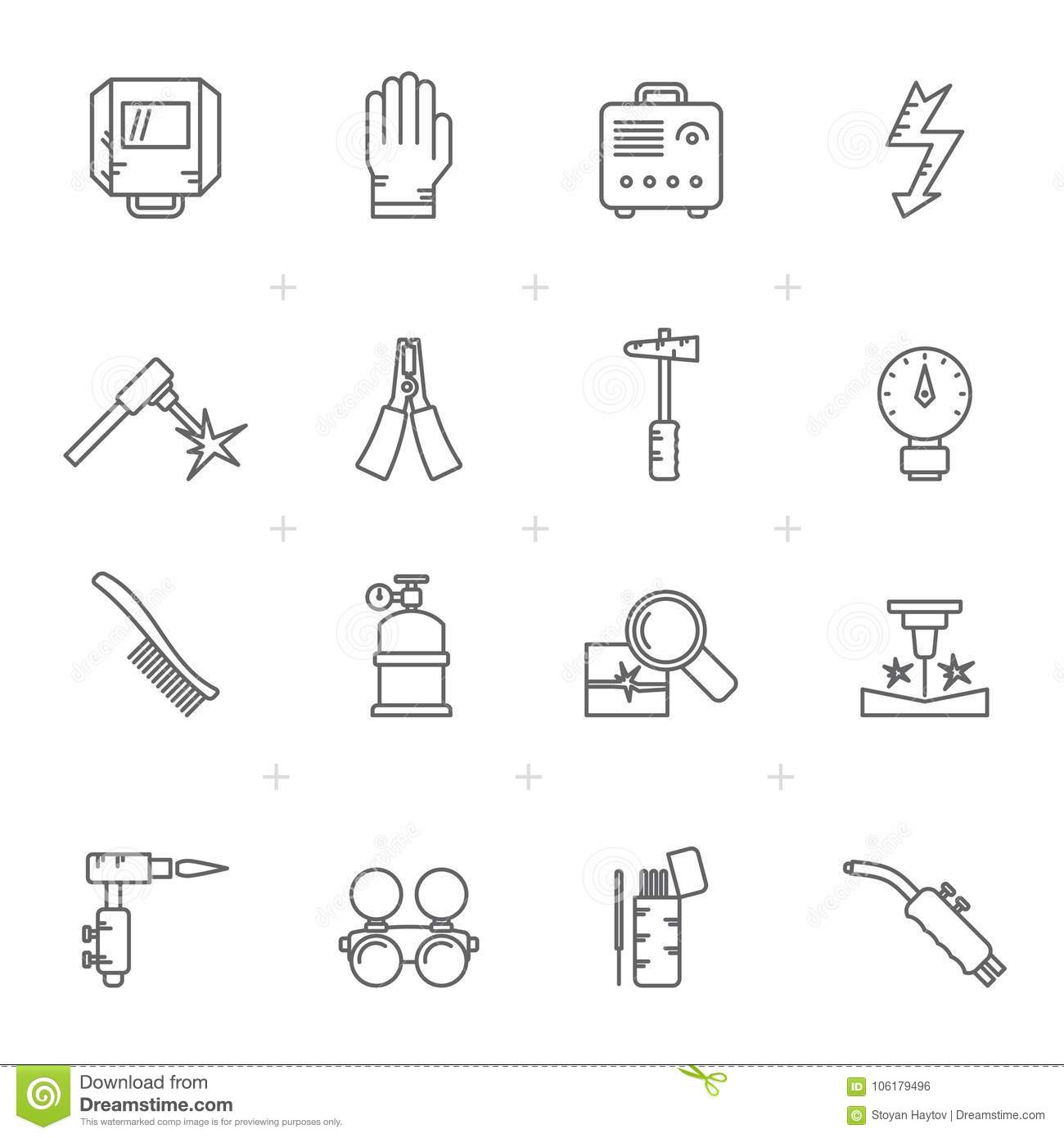 Line Welding and construction tools icons