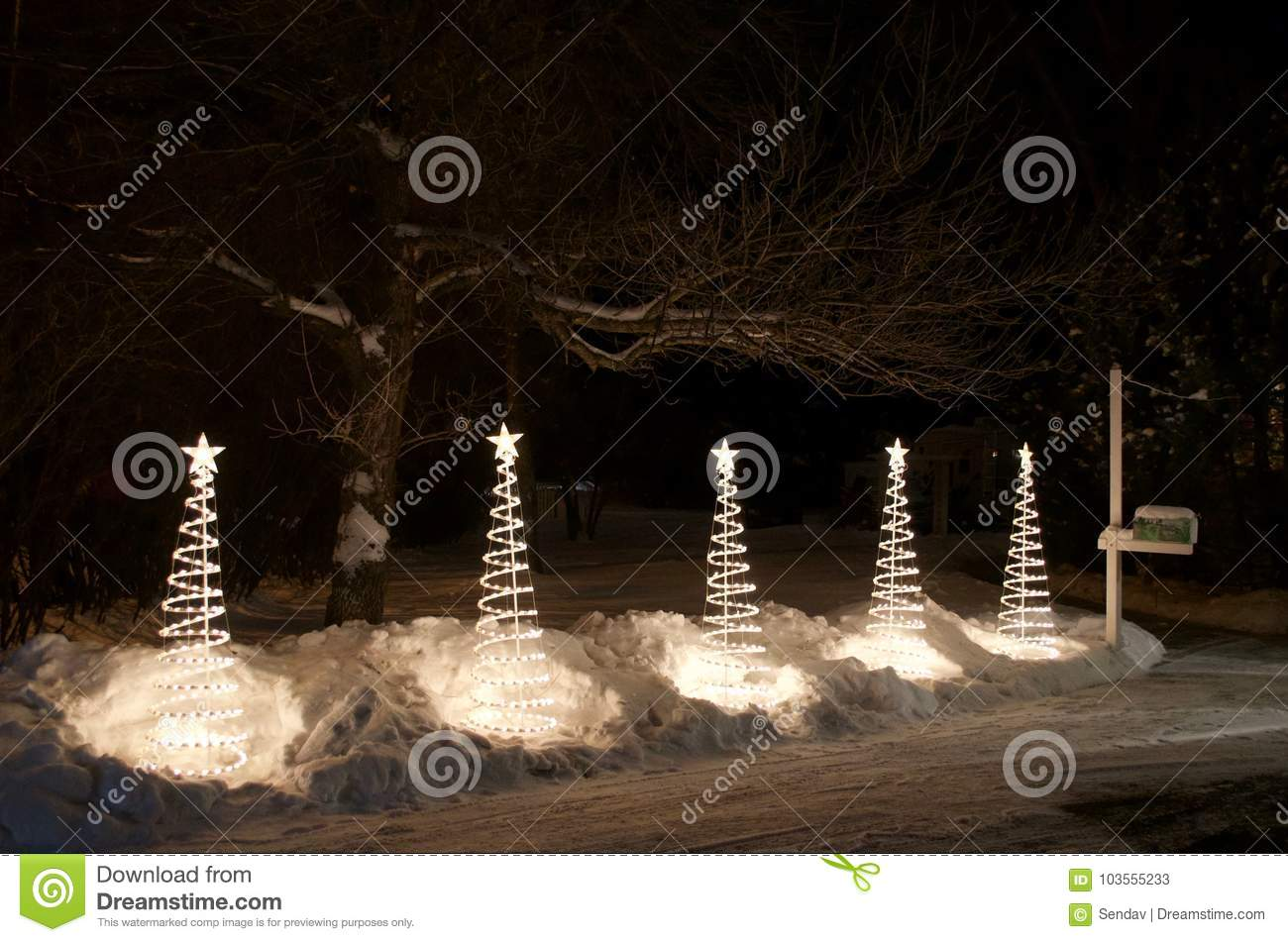 Light Up Outdoor Christmas Decorations.Abstract White Outdoor Christmas Decorations Stock Image