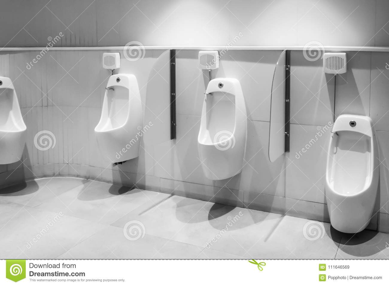 Line Of White Porcelain Urinals In Clean, Light Public To