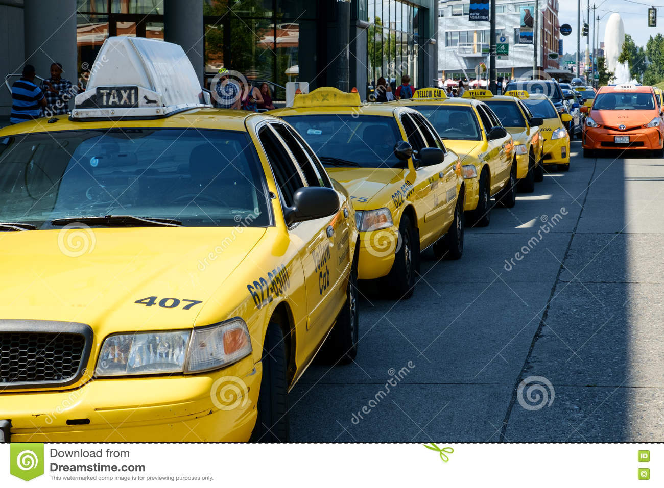 Line of yellow taxis editorial stock photo  Image of line - 74422848