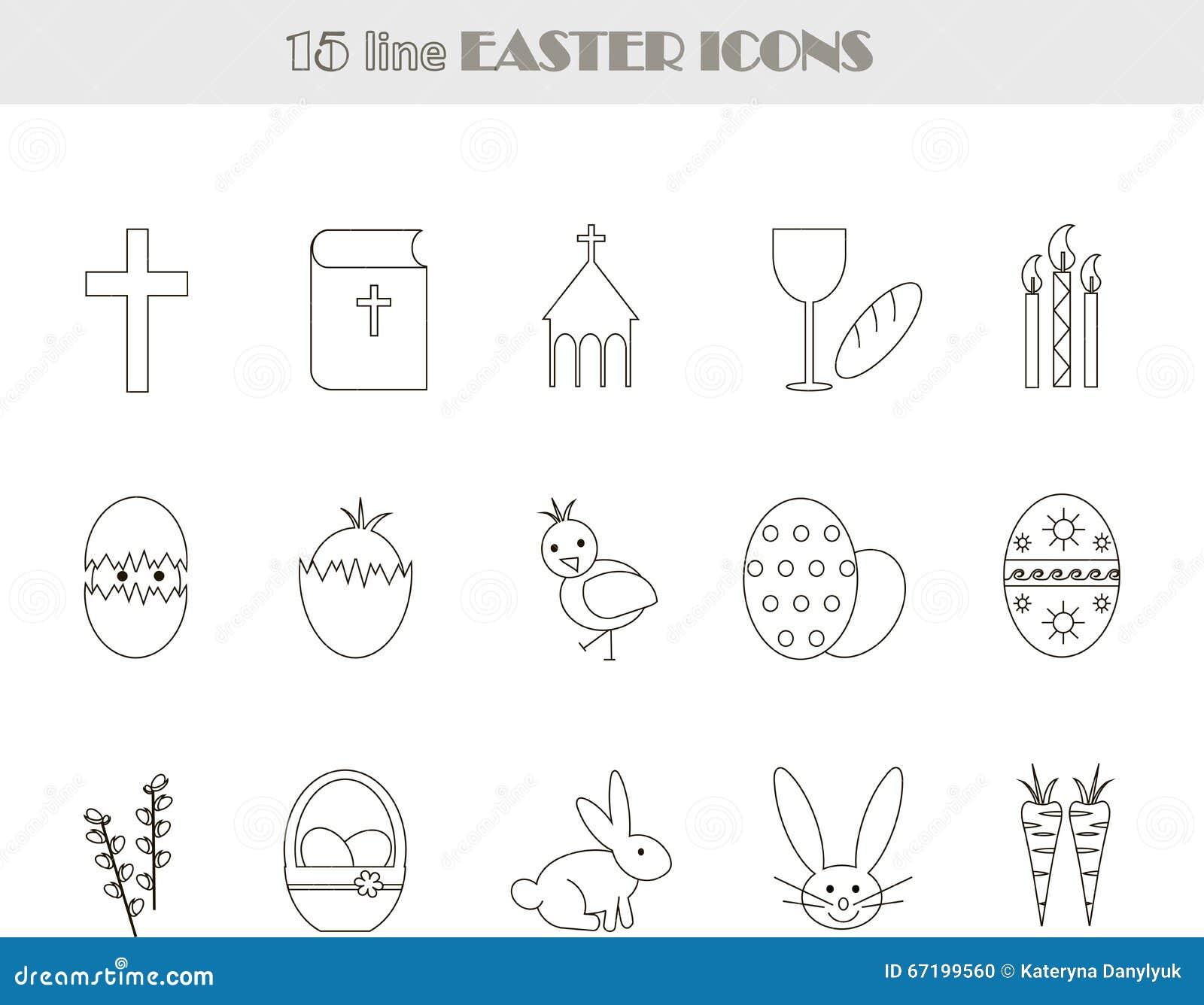 Linea In Bianco E Nero Icone Di Pasqua Vettore Illustrazione