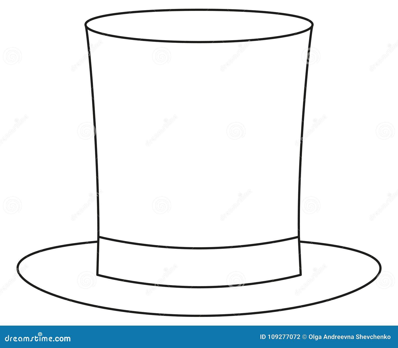 Linea cappello a cilindro alto dell icona del cappello di giorno del papà  del padre dell uomo del manifesto di arte Pagina del libro da colorare per  gli ... fd78283340a3