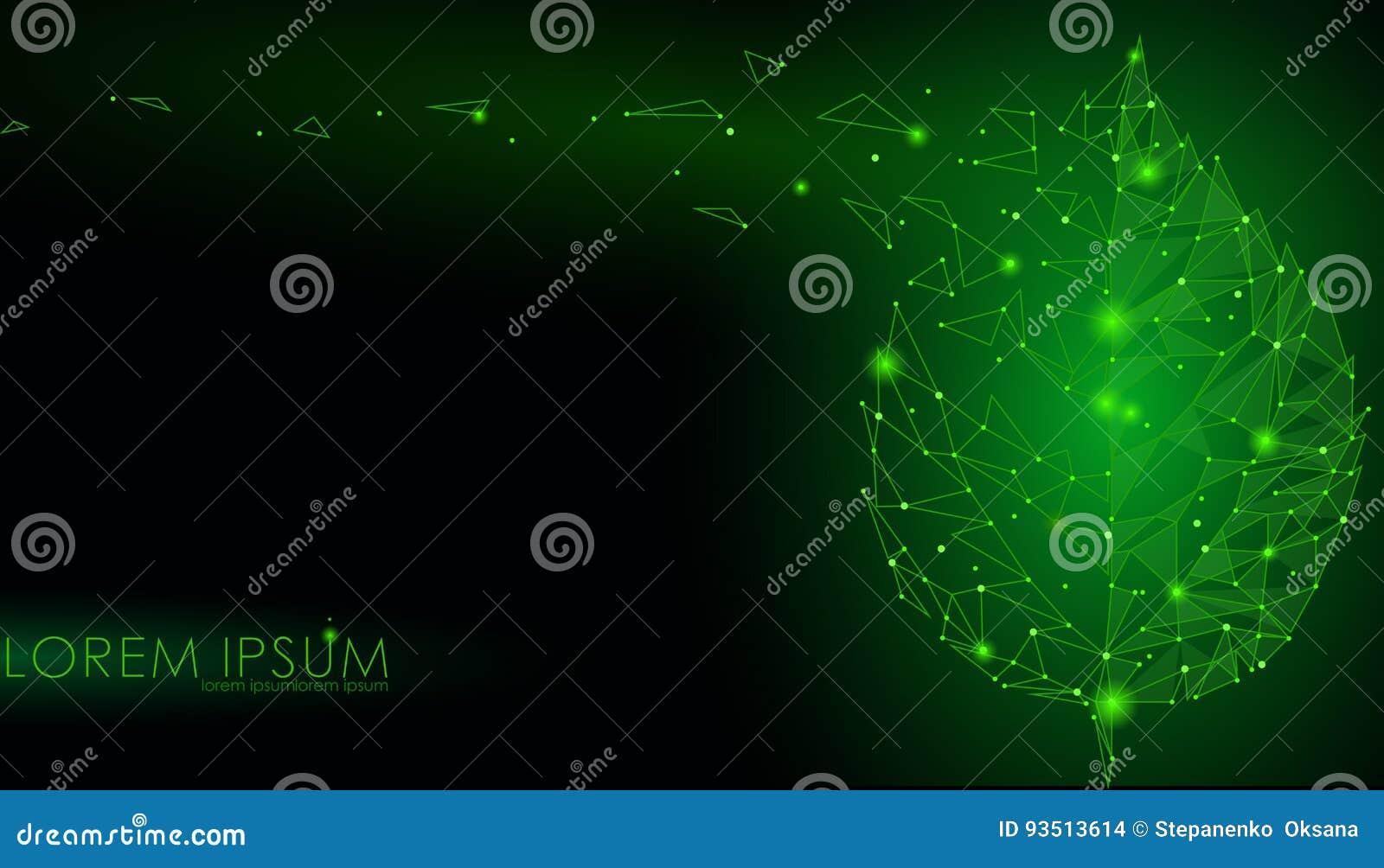 Linea collegata foglia del punto dei punti del triangolo Il concetto della natura di Eco su fondo verde scuro accende il illustr