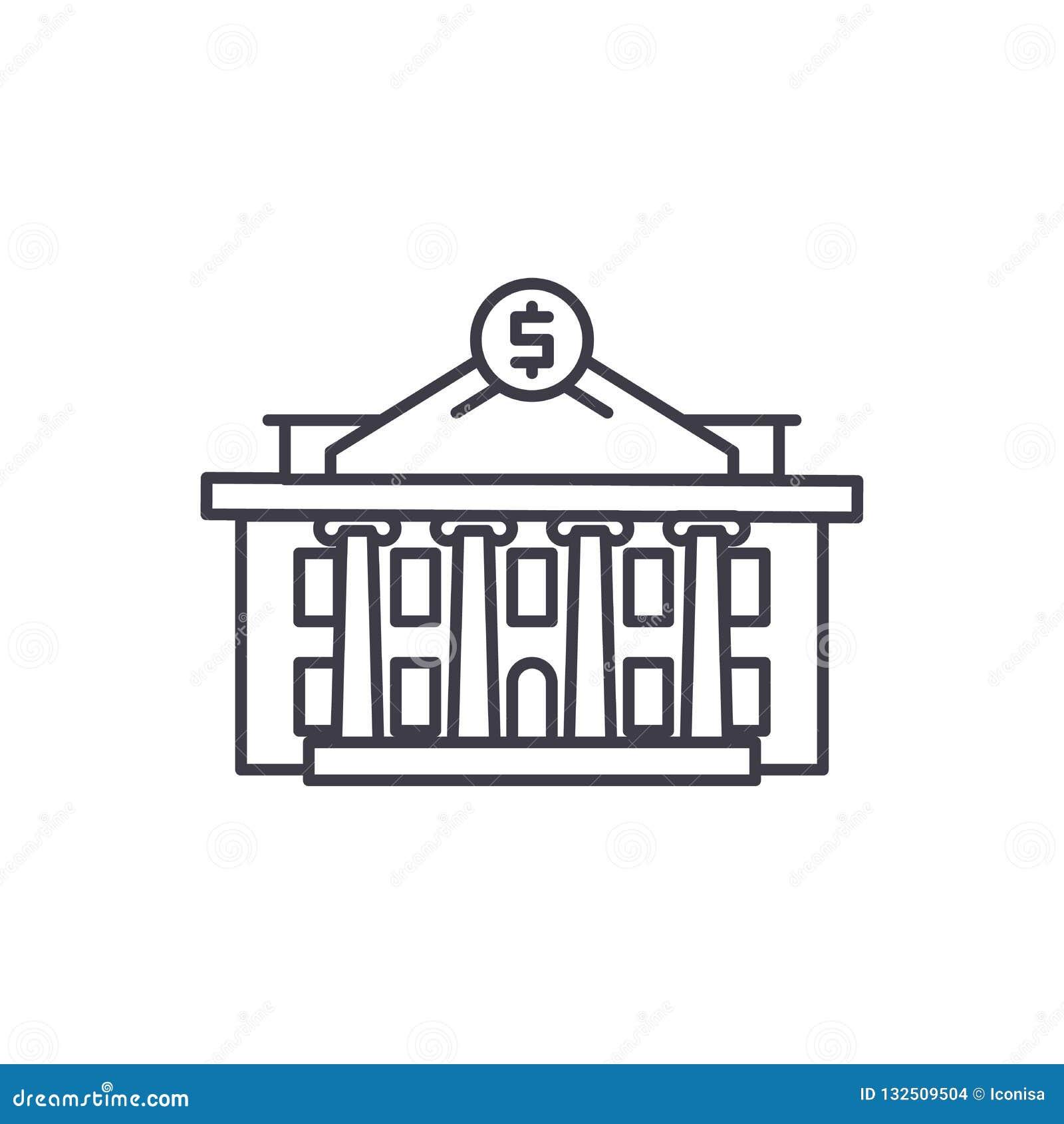 Linea concetto dell istituzione finanziaria dell icona Illustrazione lineare di vettore dell istituzione finanziaria, simbolo, se